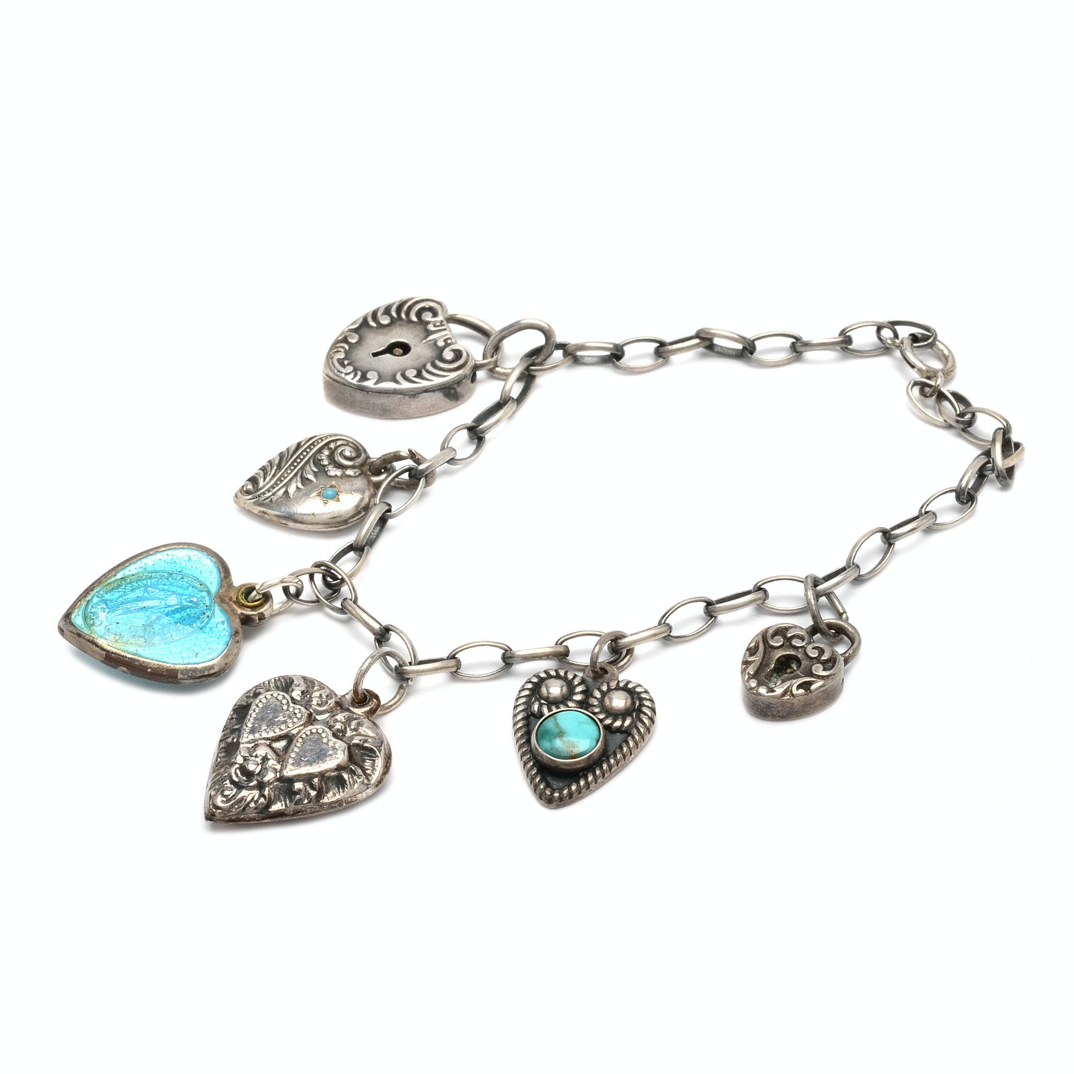 "Vintage Sterling Silver ""Sweetheart"" Charm Bracelet with Heart Charms"
