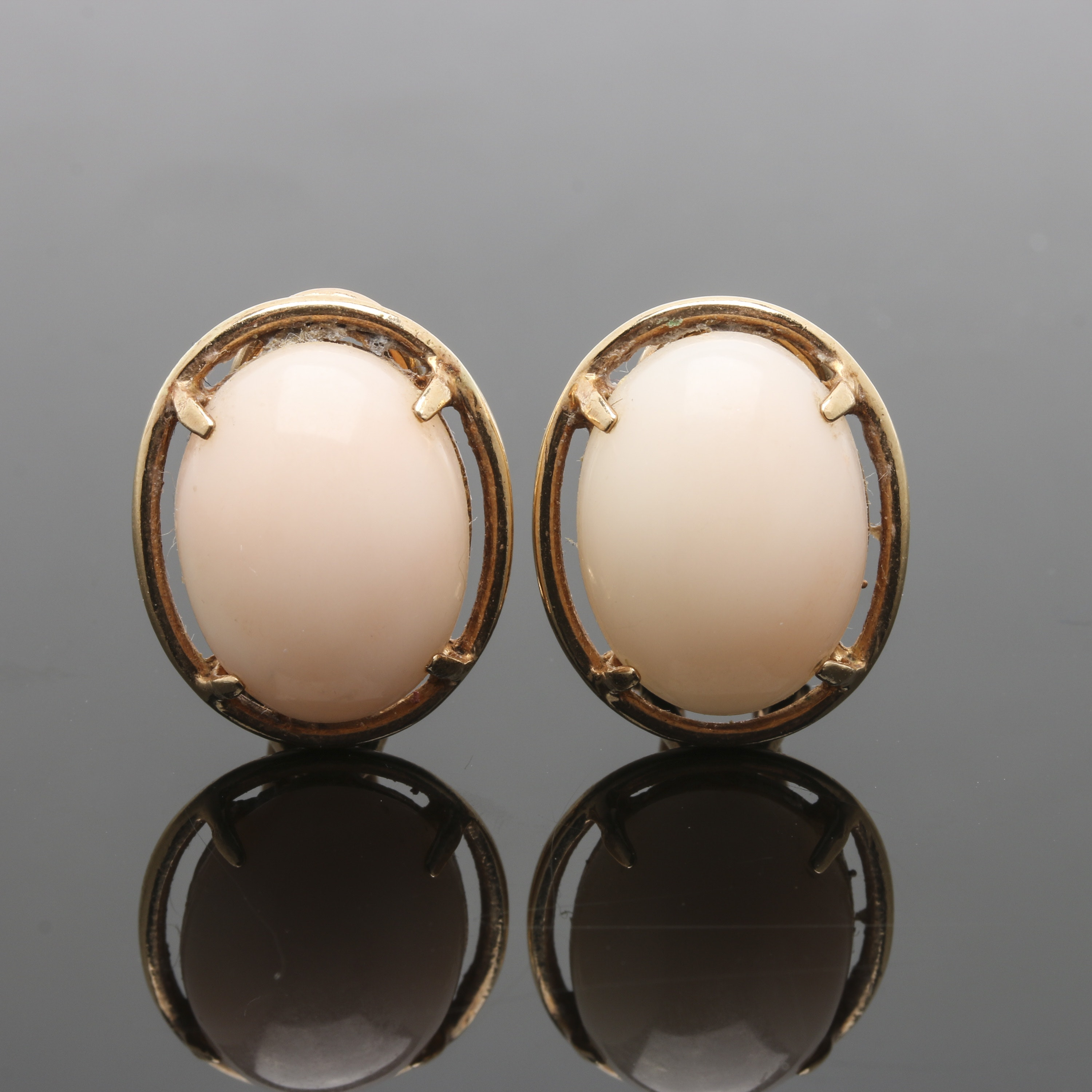 14K Yellow Gold Coral Clip On Earrings