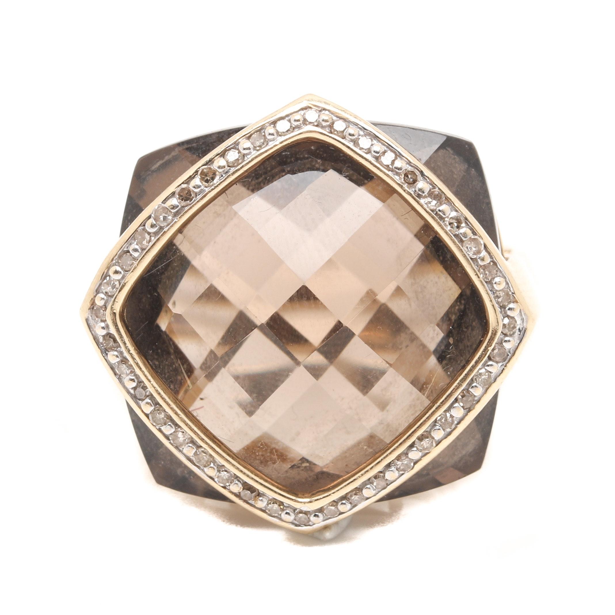 14K Yellow Gold 23.36 CT Smoky Quartz and Diamond Ring