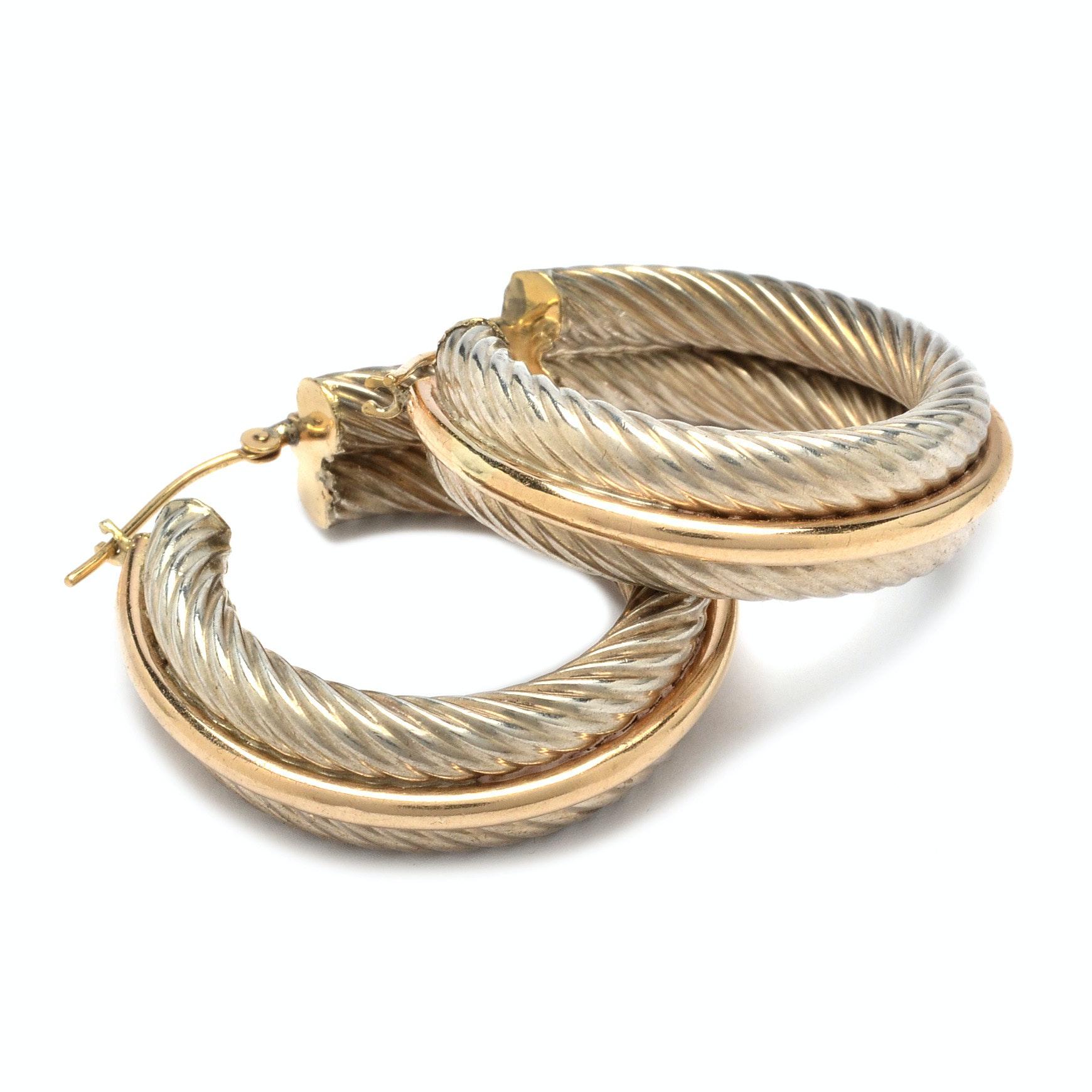 Marjorie Baer Sterling Silver and 14K Hoop Earrings