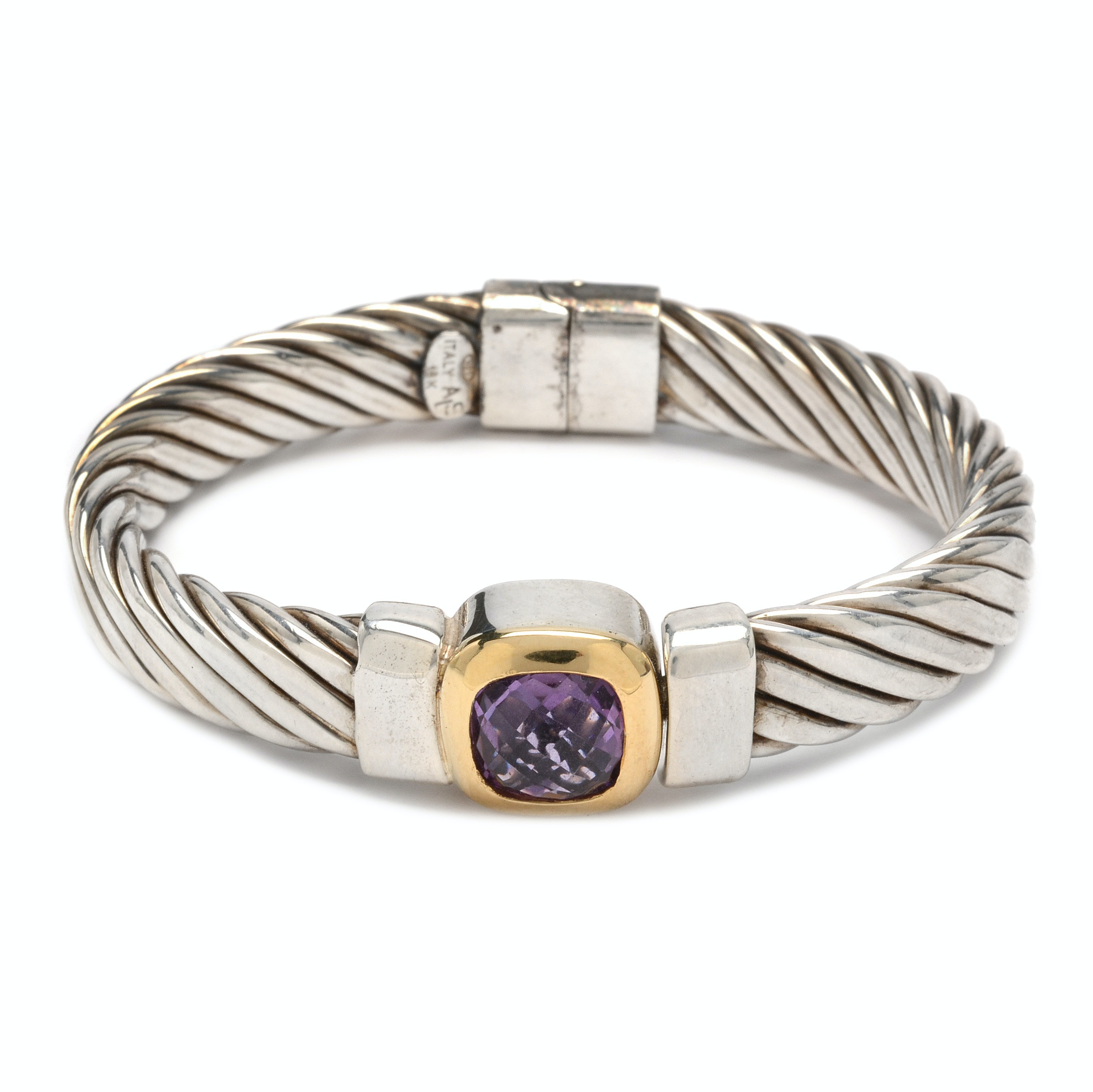 Sterling Silver and Amethyst Hinged Bracelet with 18K Yellow Gold Accents