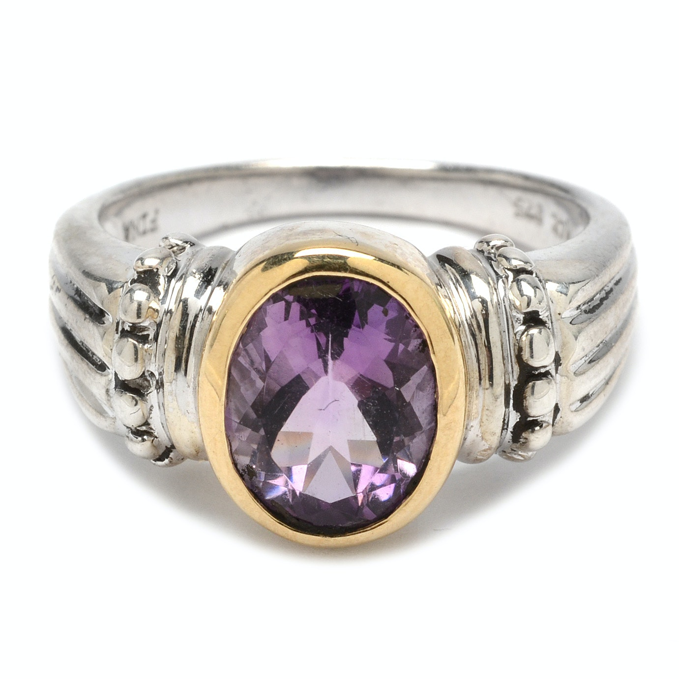 Michael C. Fina Sterling Silver Amethyst Ring With 14K Yellow Gold Accents