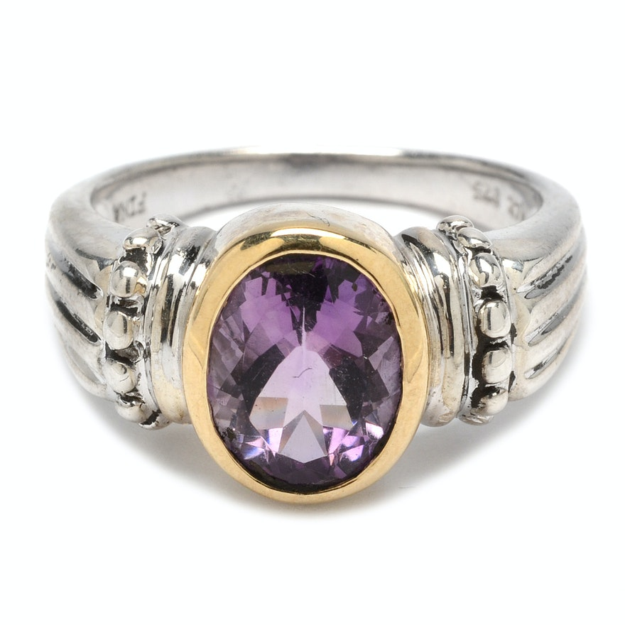Amethyst Ring Diamond Accents
