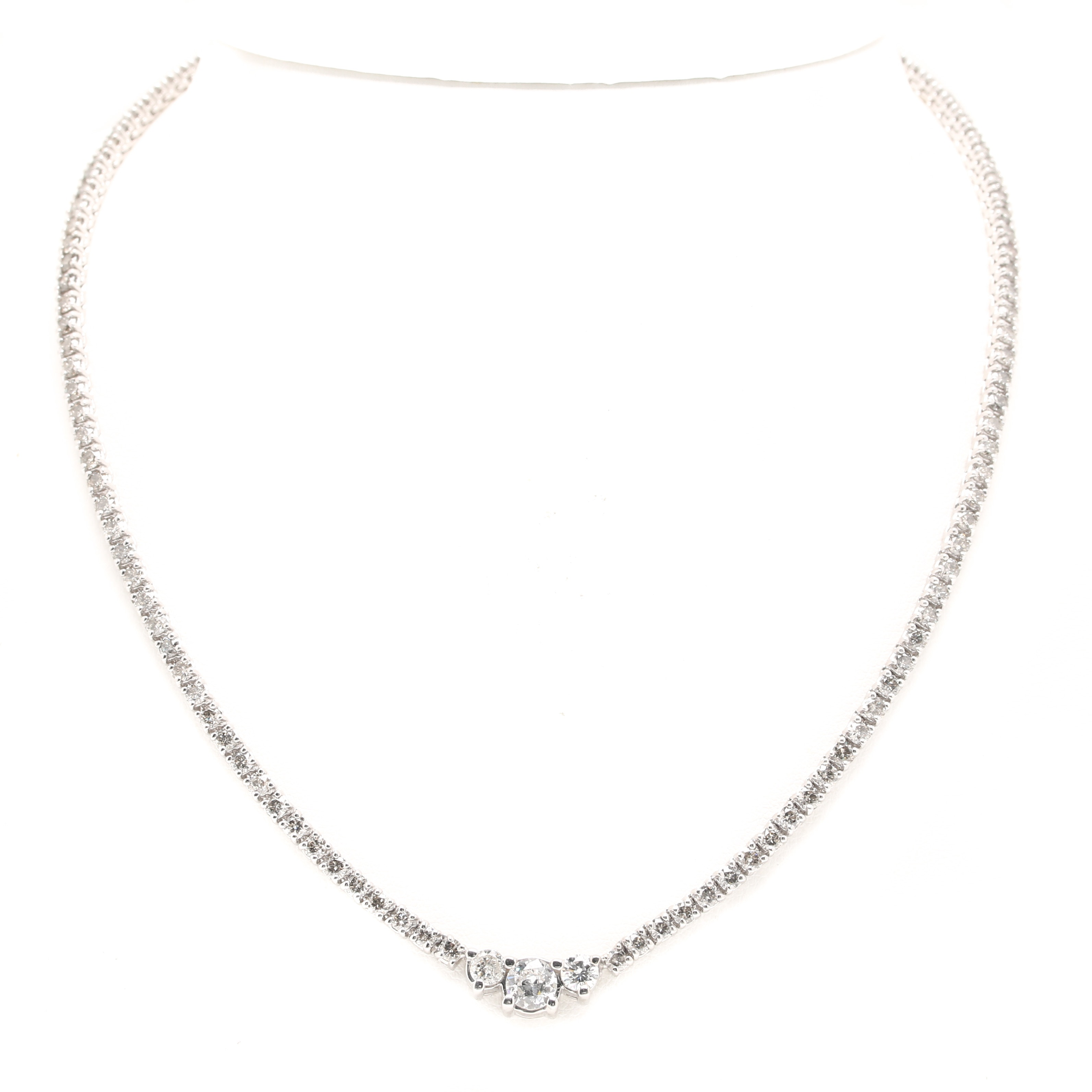 14K White Gold 8.47 CTW Diamond Necklace