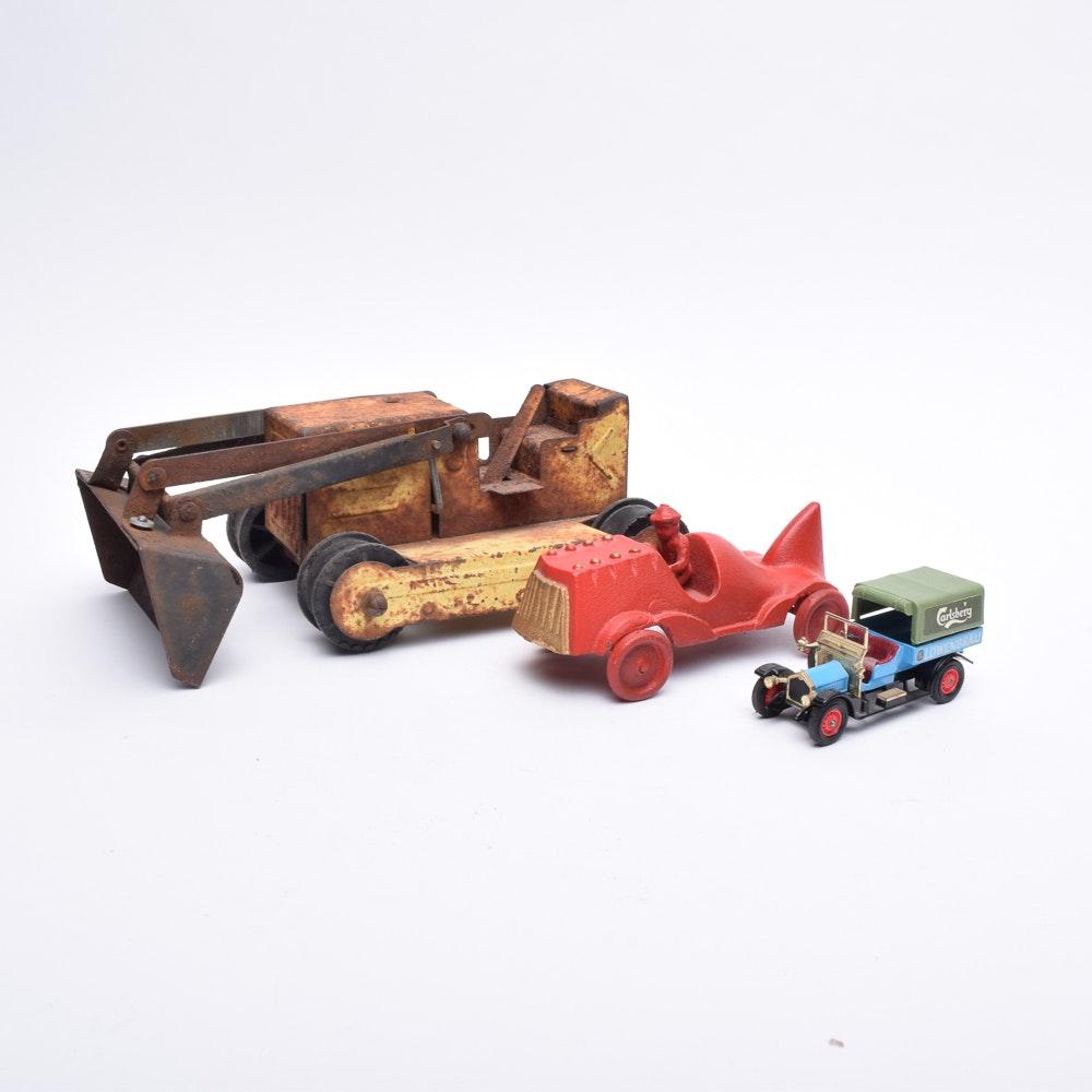 Pressed Steel Bulldozer and Die-Cast Cars