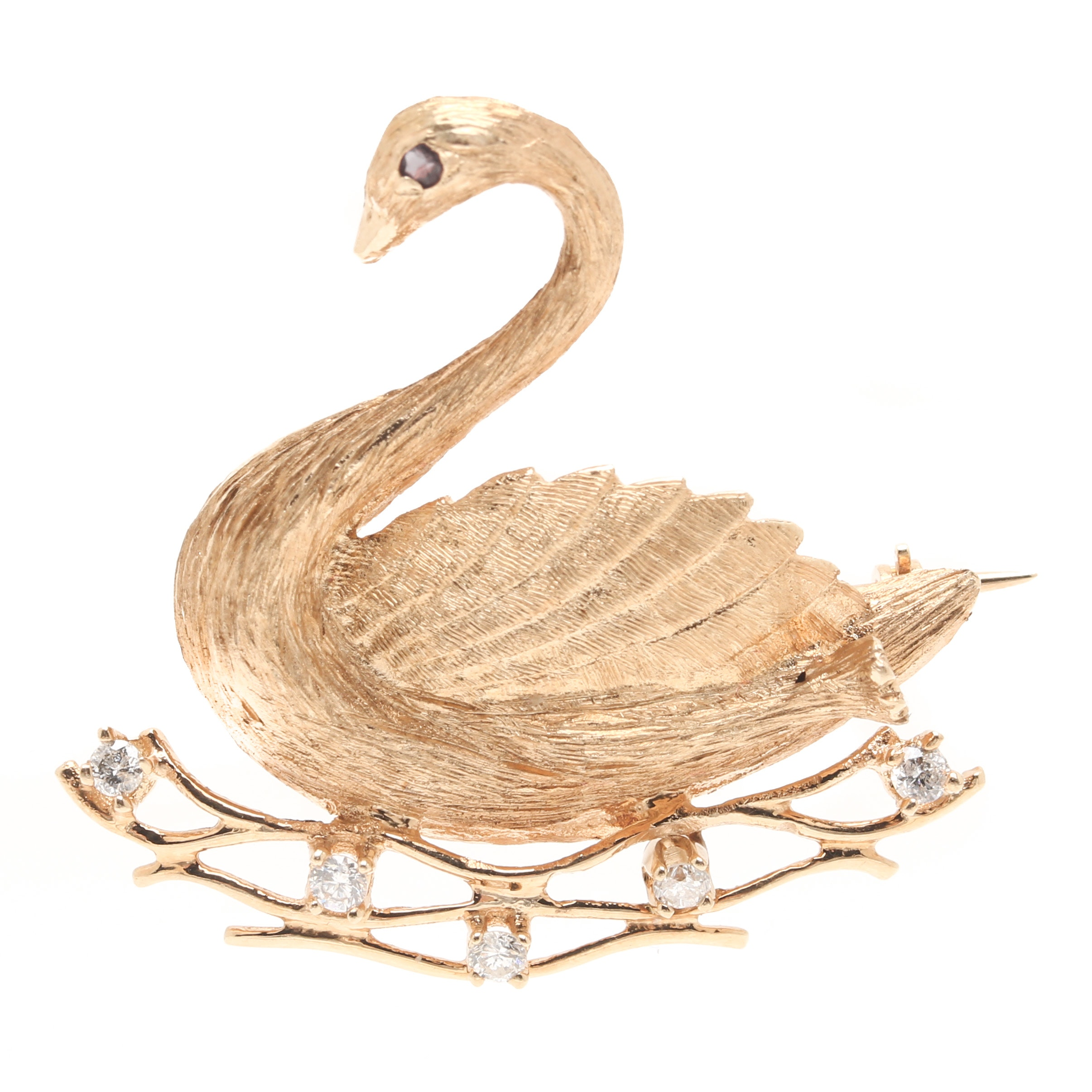 14K Yellow Gold Ruby and Diamond Swan Brooch