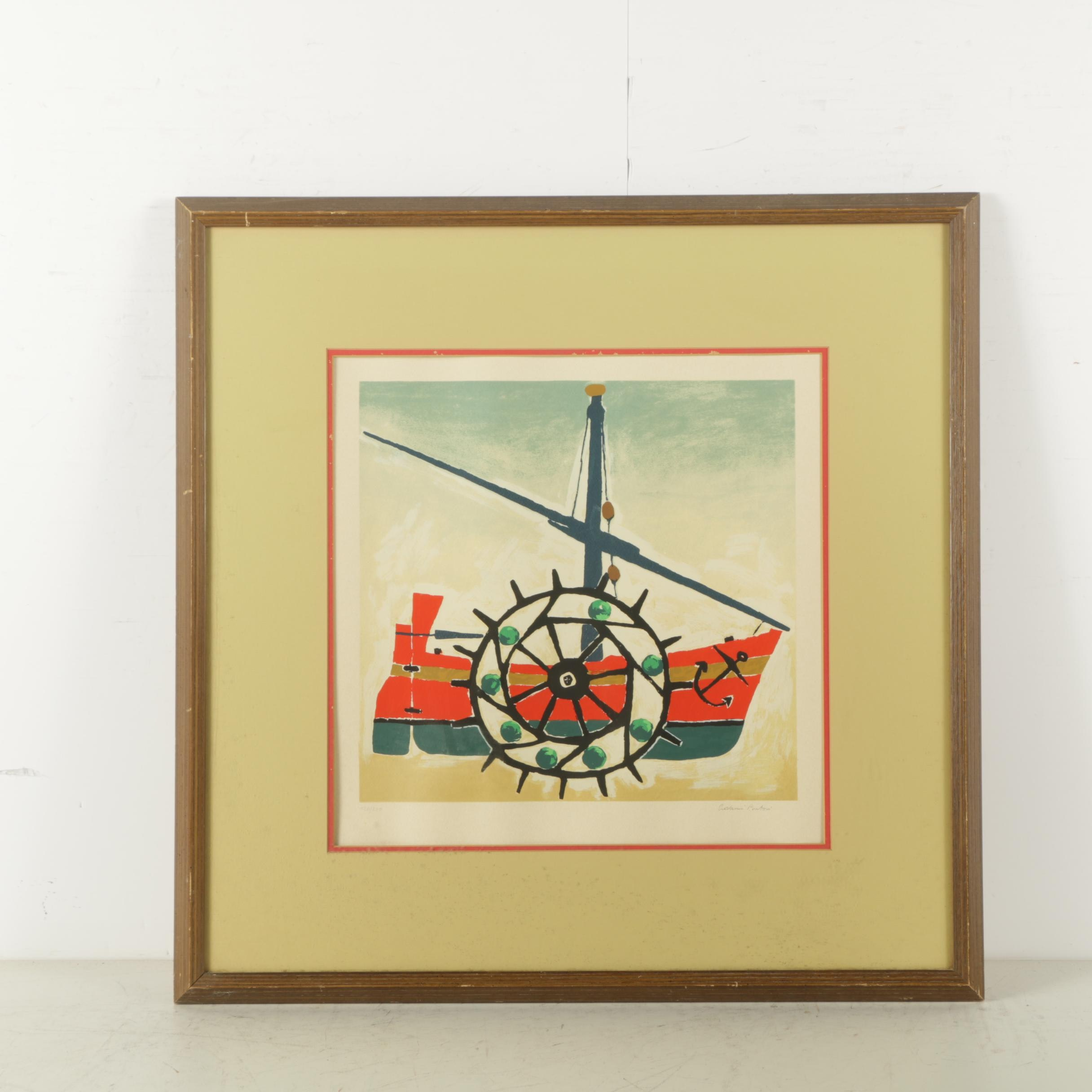 Limited Edition Serigraph on Paper of a Boat