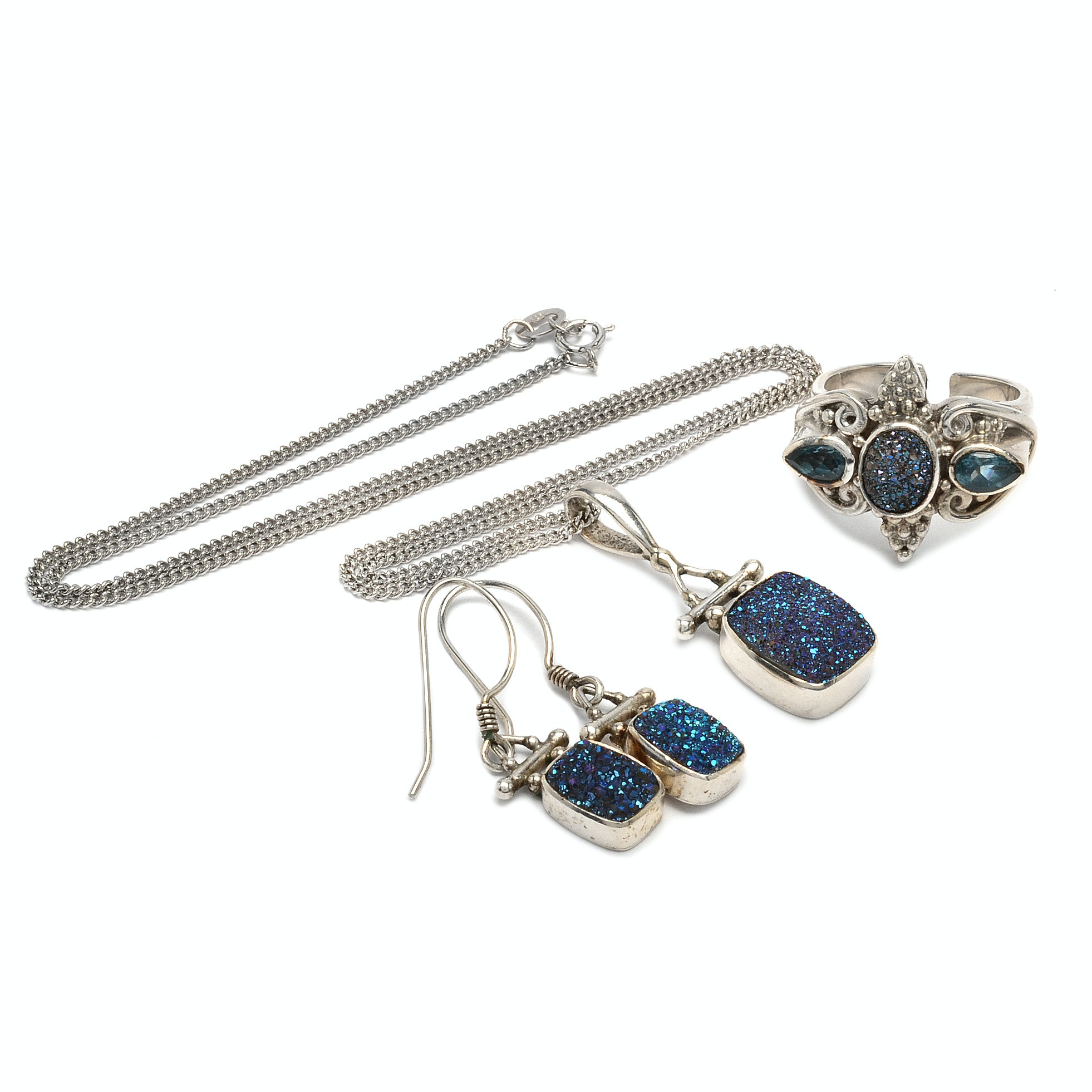 Sterling Silver Jewlery Including Coated Druzy and London Blue Topaz