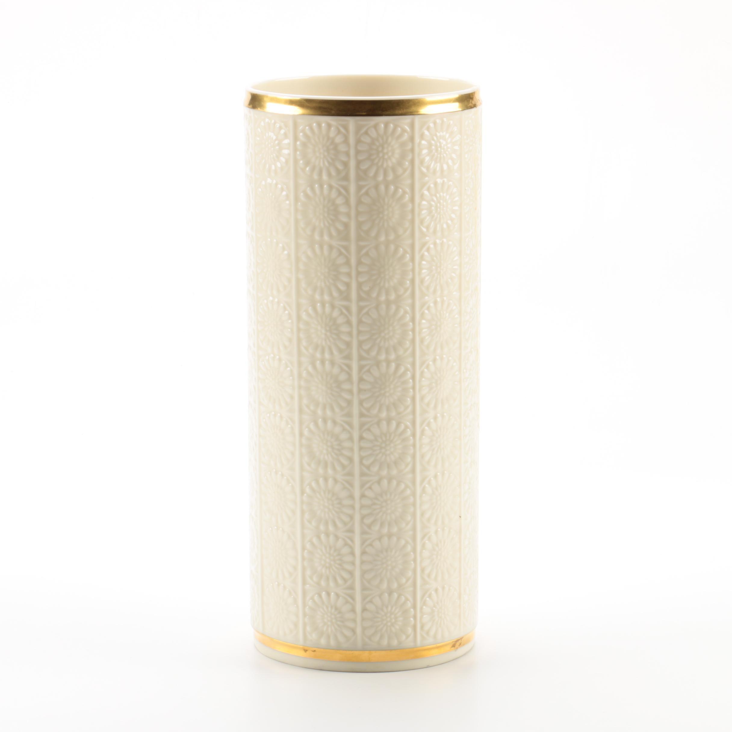 Lenox Hand Decorated Porcelain Vase with 24 Karat Gold Accents