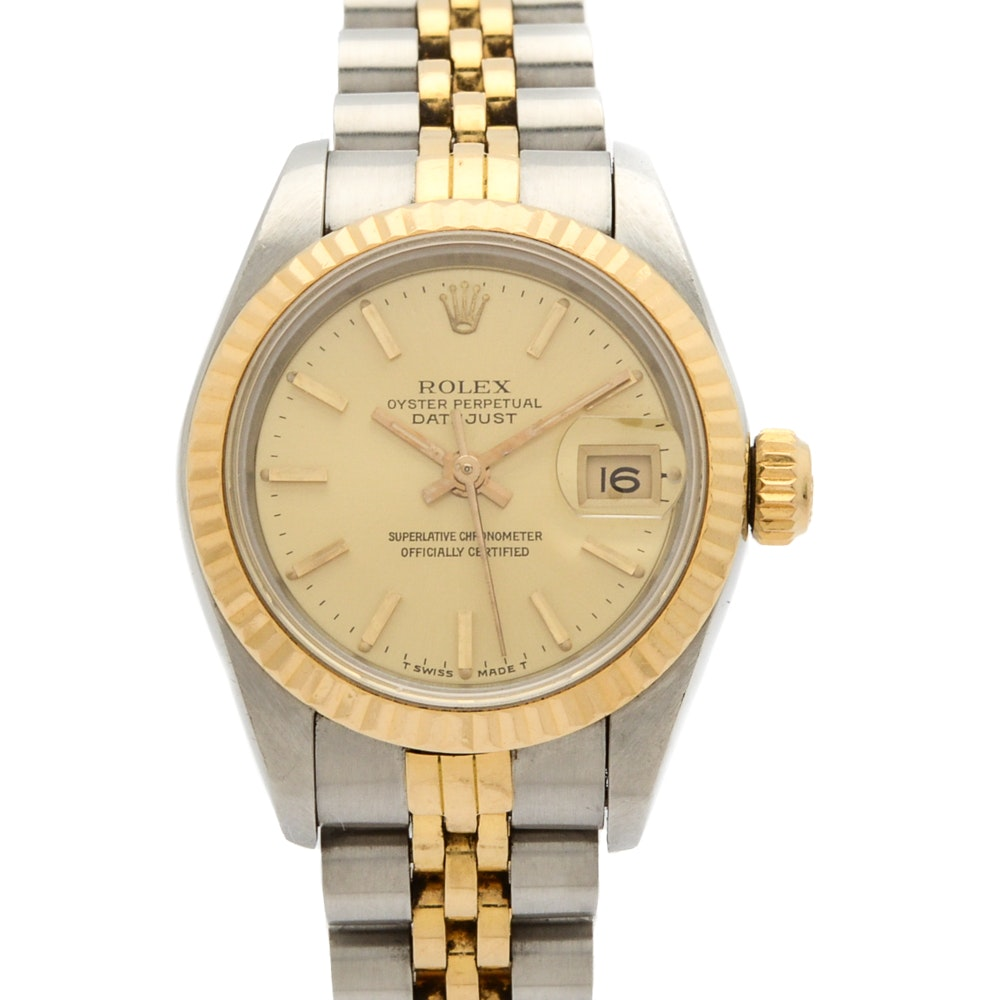Rolex Oyster 18K Gold and Steel Perpetual Datejust Wristwatch
