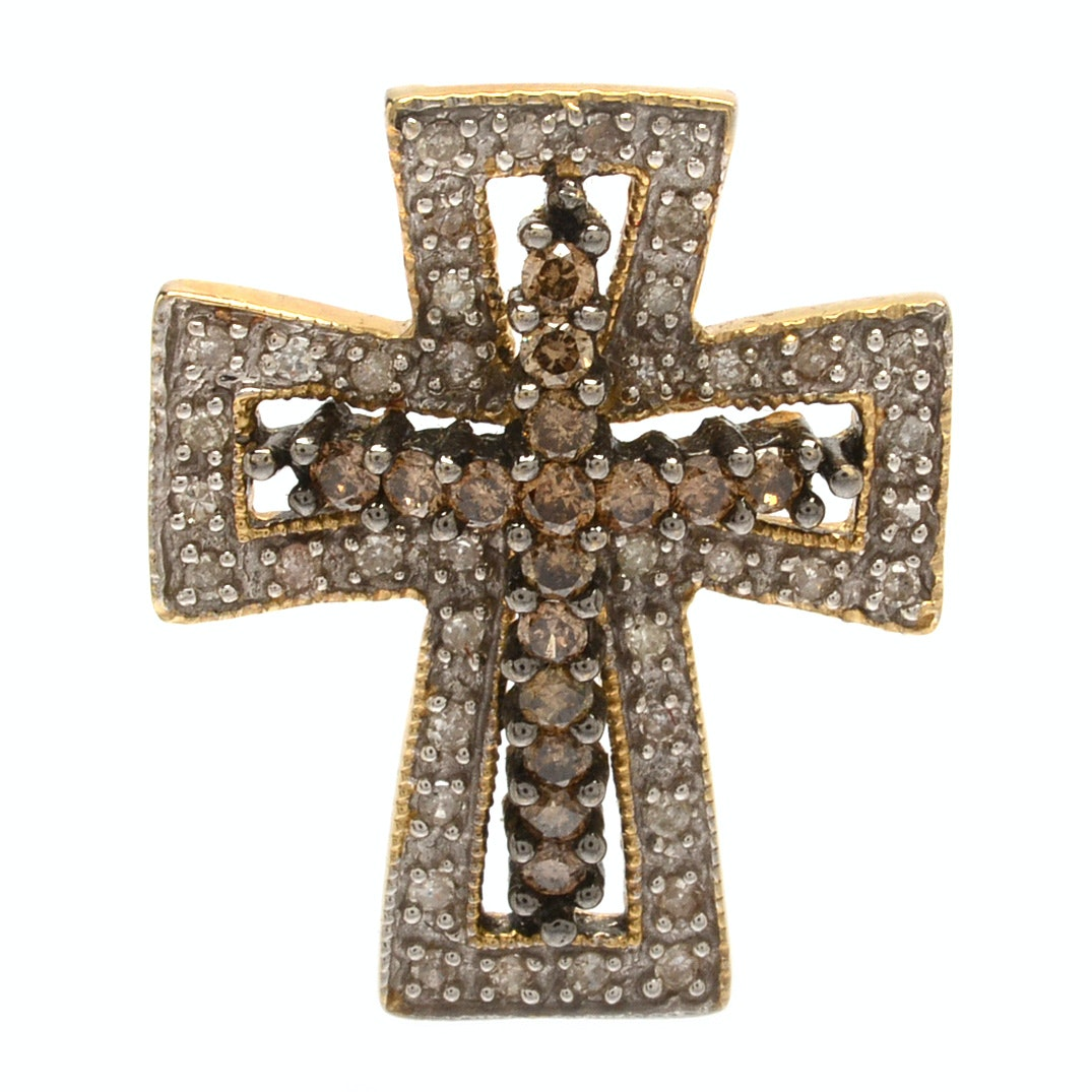 14K Gold Cross Pendant with Diamonds and Brown Diamonds