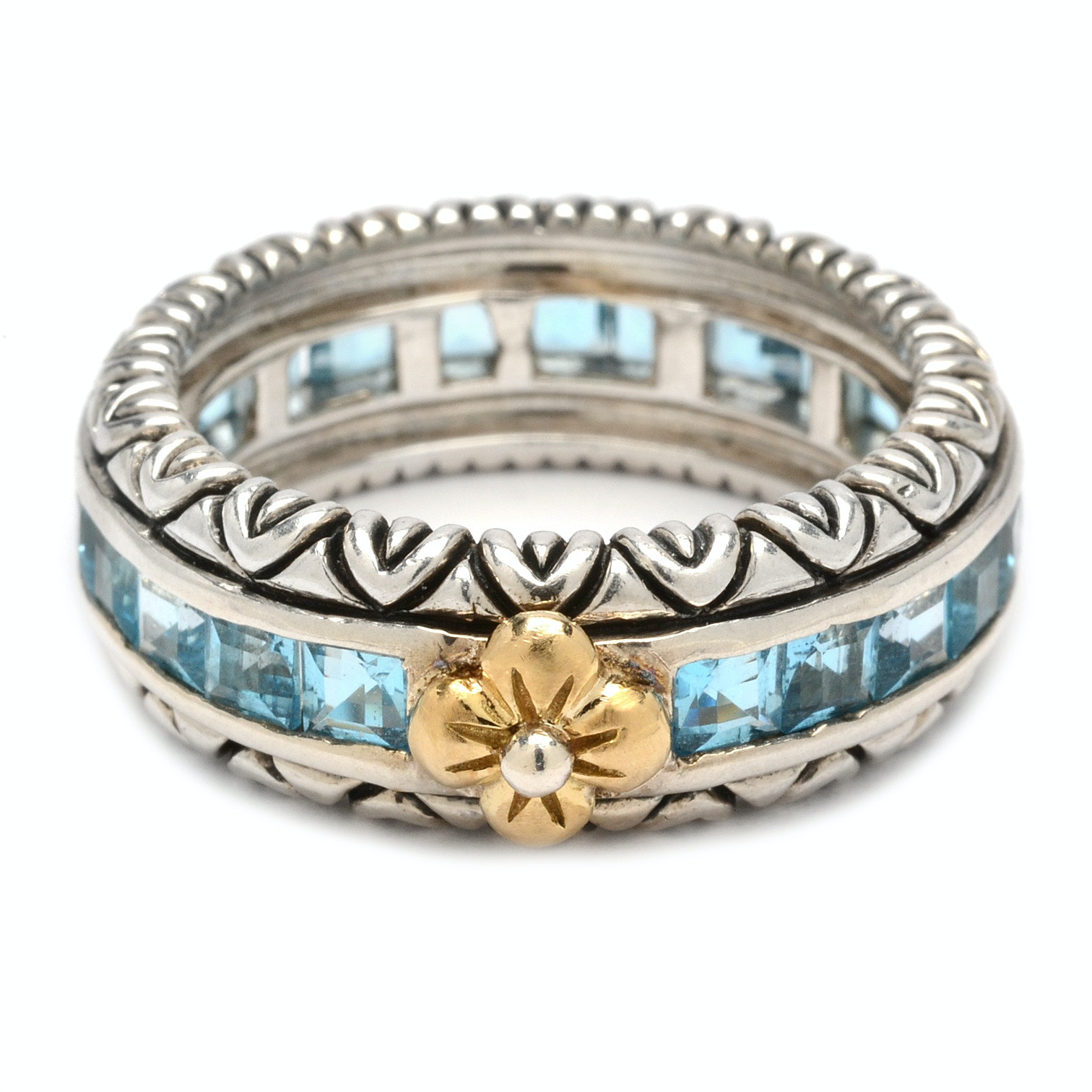 Barbara Bixby Sterling Silver and 18K Gold 3.45 Carat Blue Topaz Ring