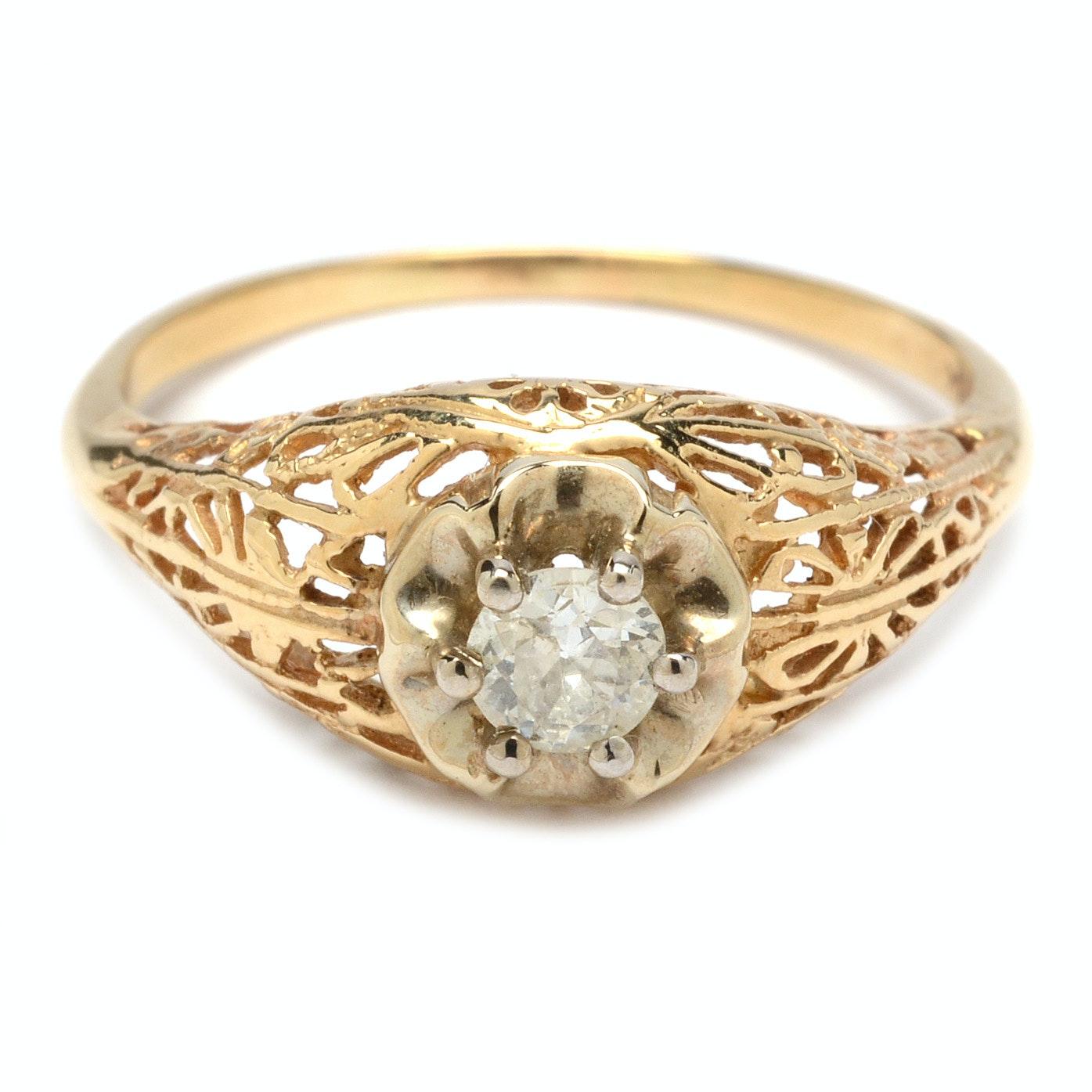 14K Yellow Gold Vintage Diamond Ring
