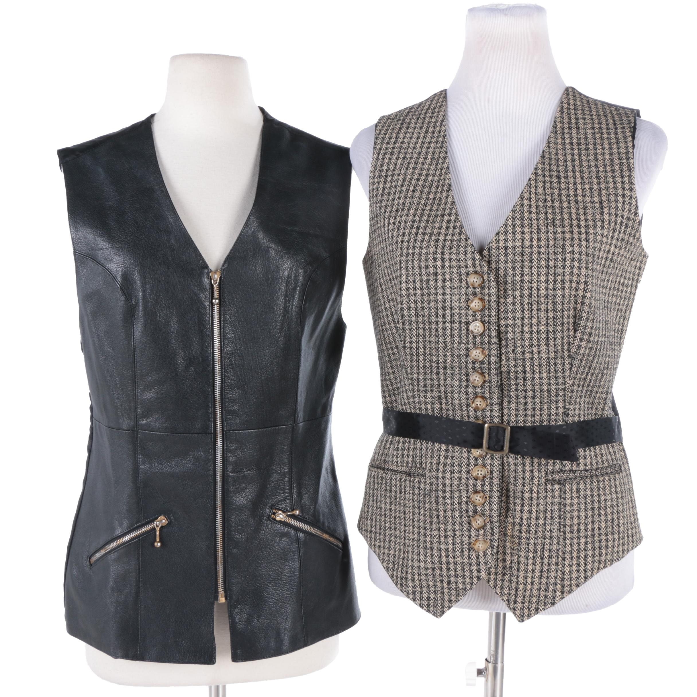 Women's Leather and Silk Vests