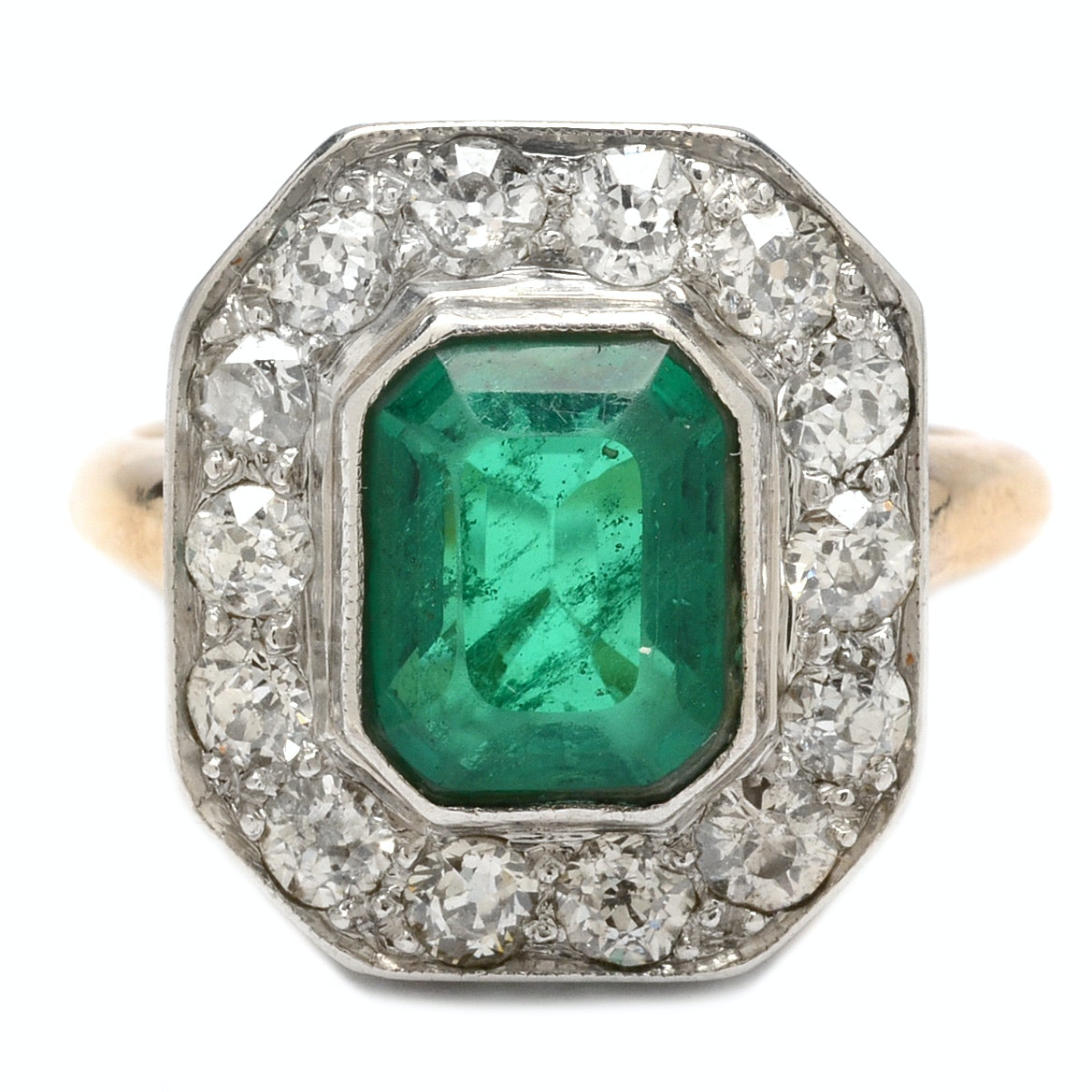14K Yellow Gold and Platinum Emerald Triplet and Diamond Ring
