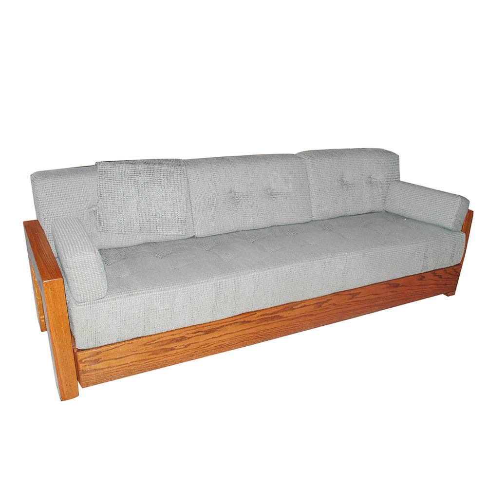 Vintage Upholstered Oak Sofa
