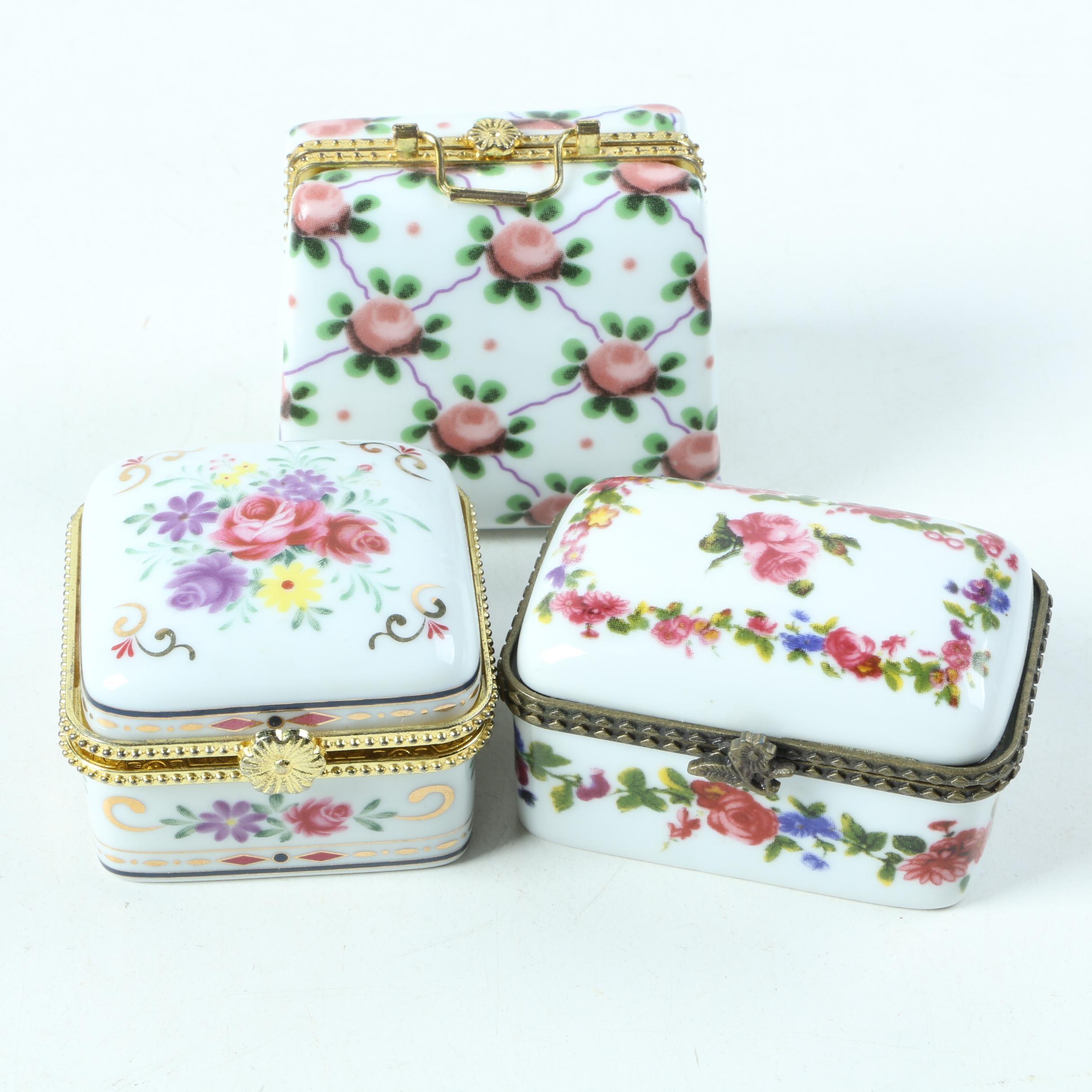 Floral Motif Porcelain Trinket Boxes