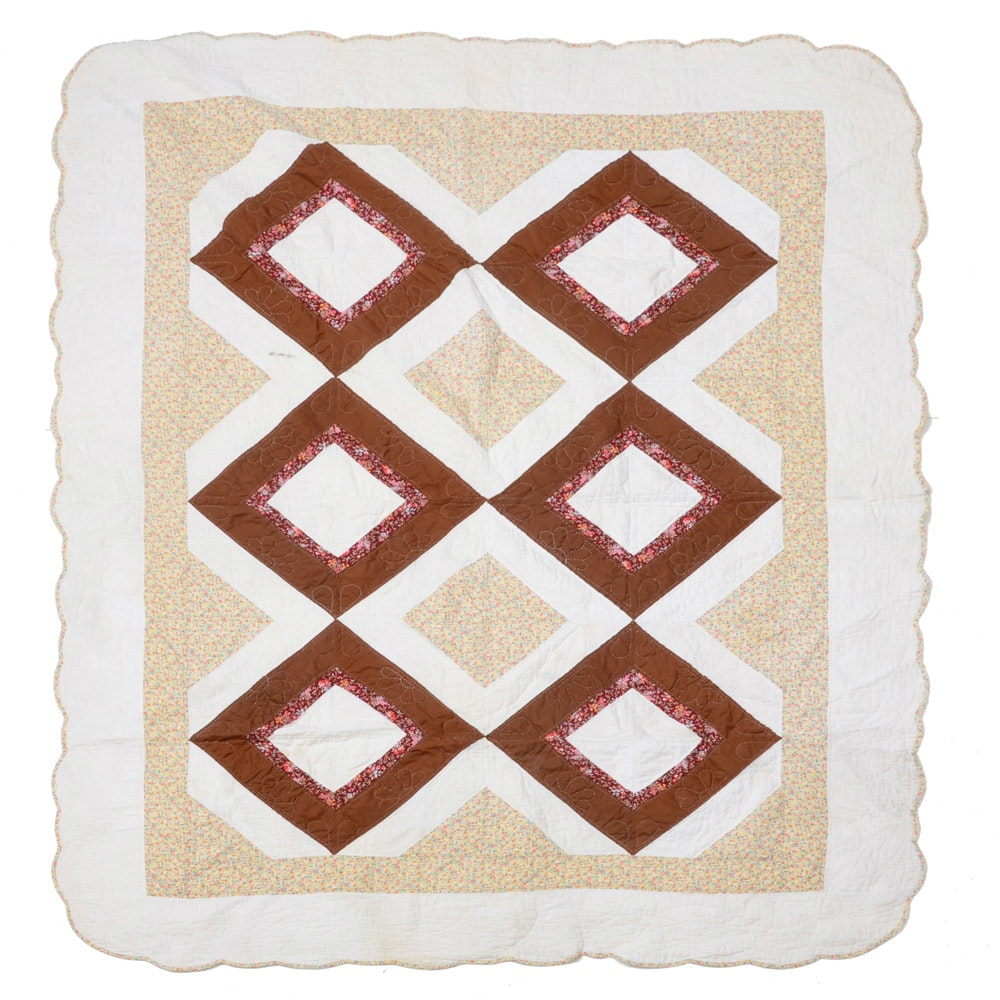 Handmade Quilt with Diamond Pattern