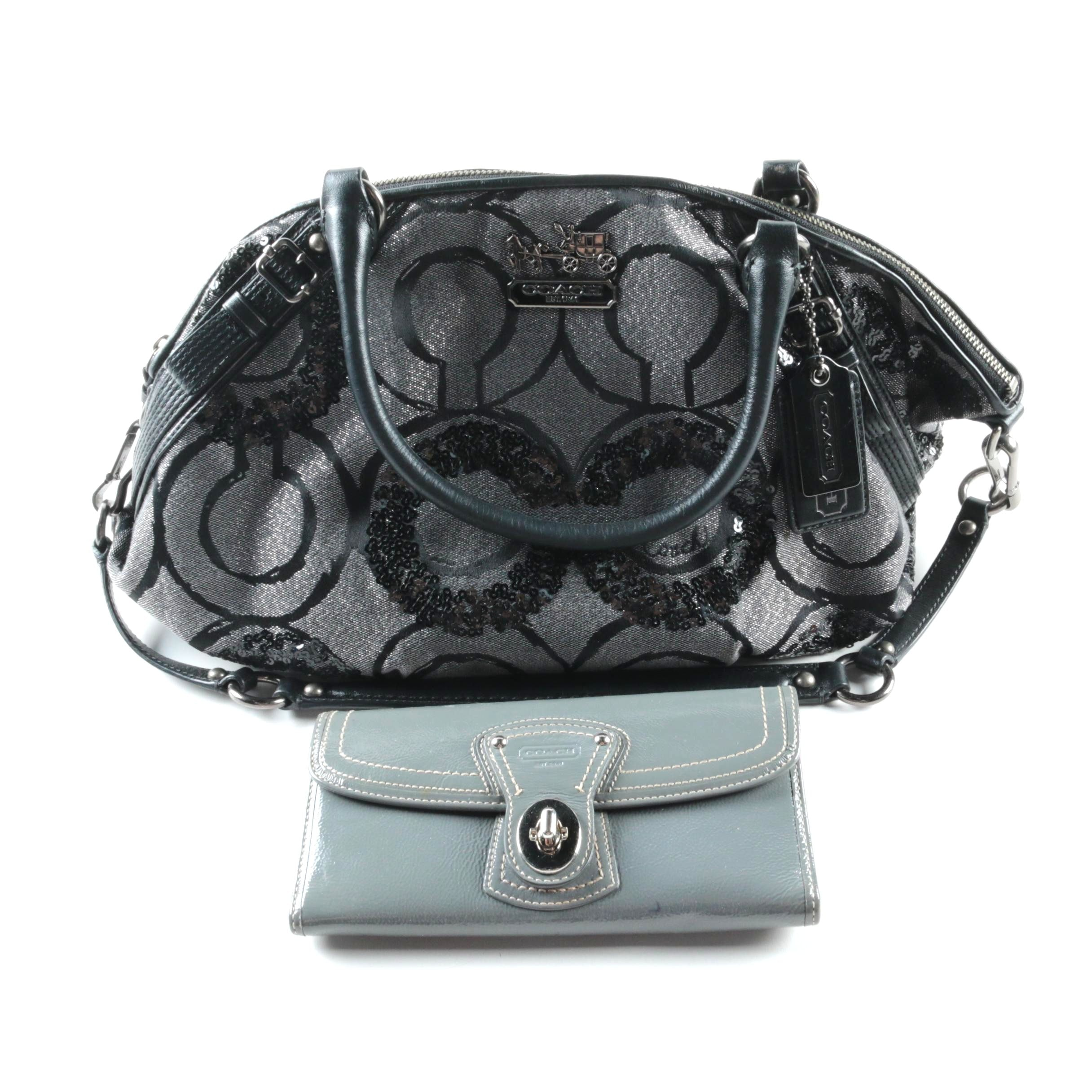 Coach Signature Madison Sophia Op Art Sequined Satchel and Wallet