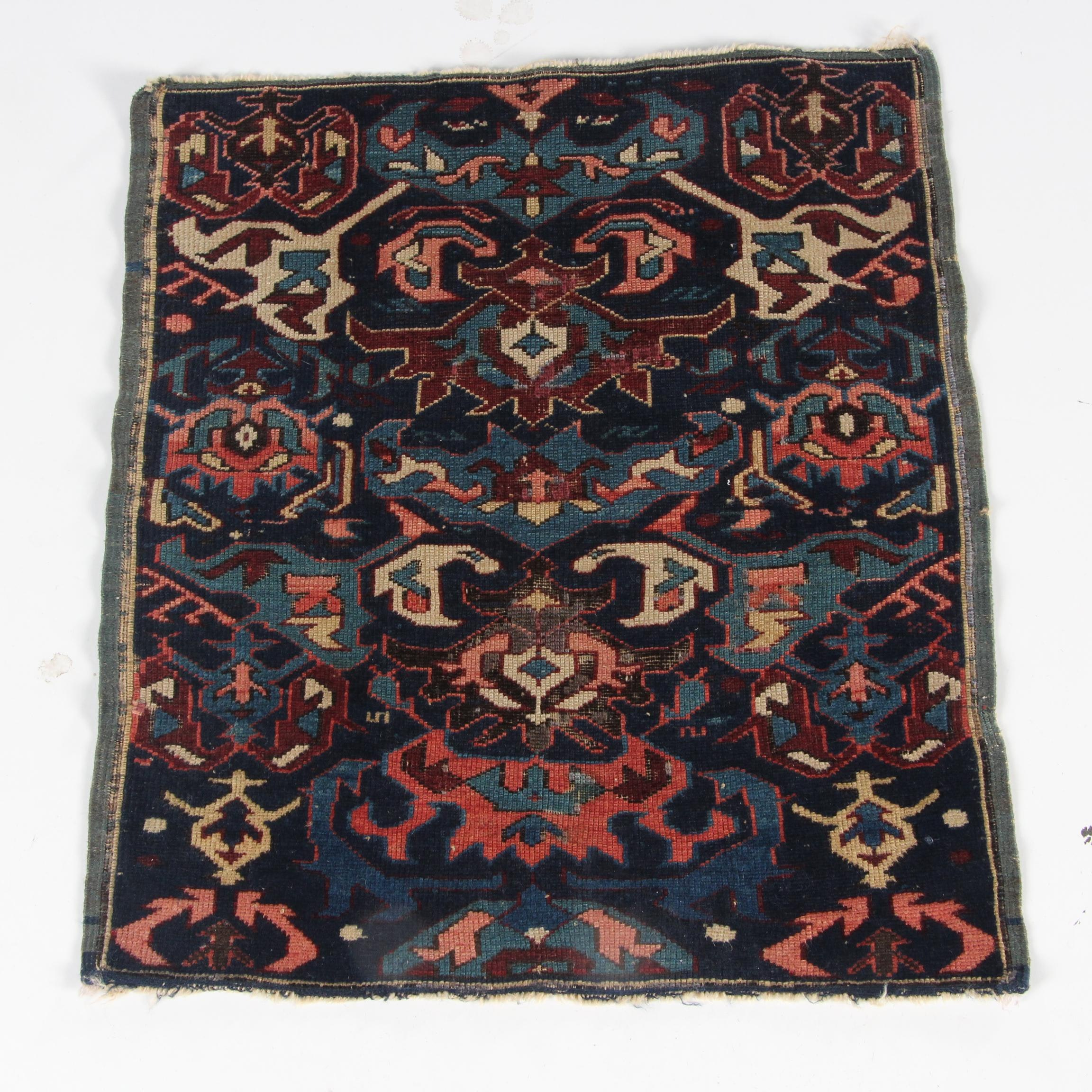 Antique Hand-Knotted Kuba Wool Accent Rug