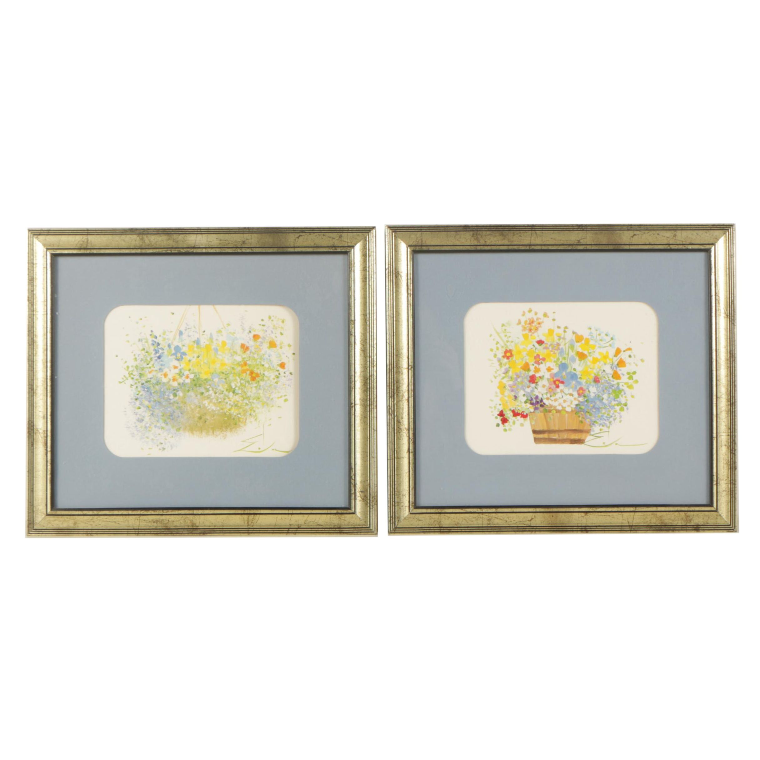 Offset Lithographs After Paintings of Floral Arrangements