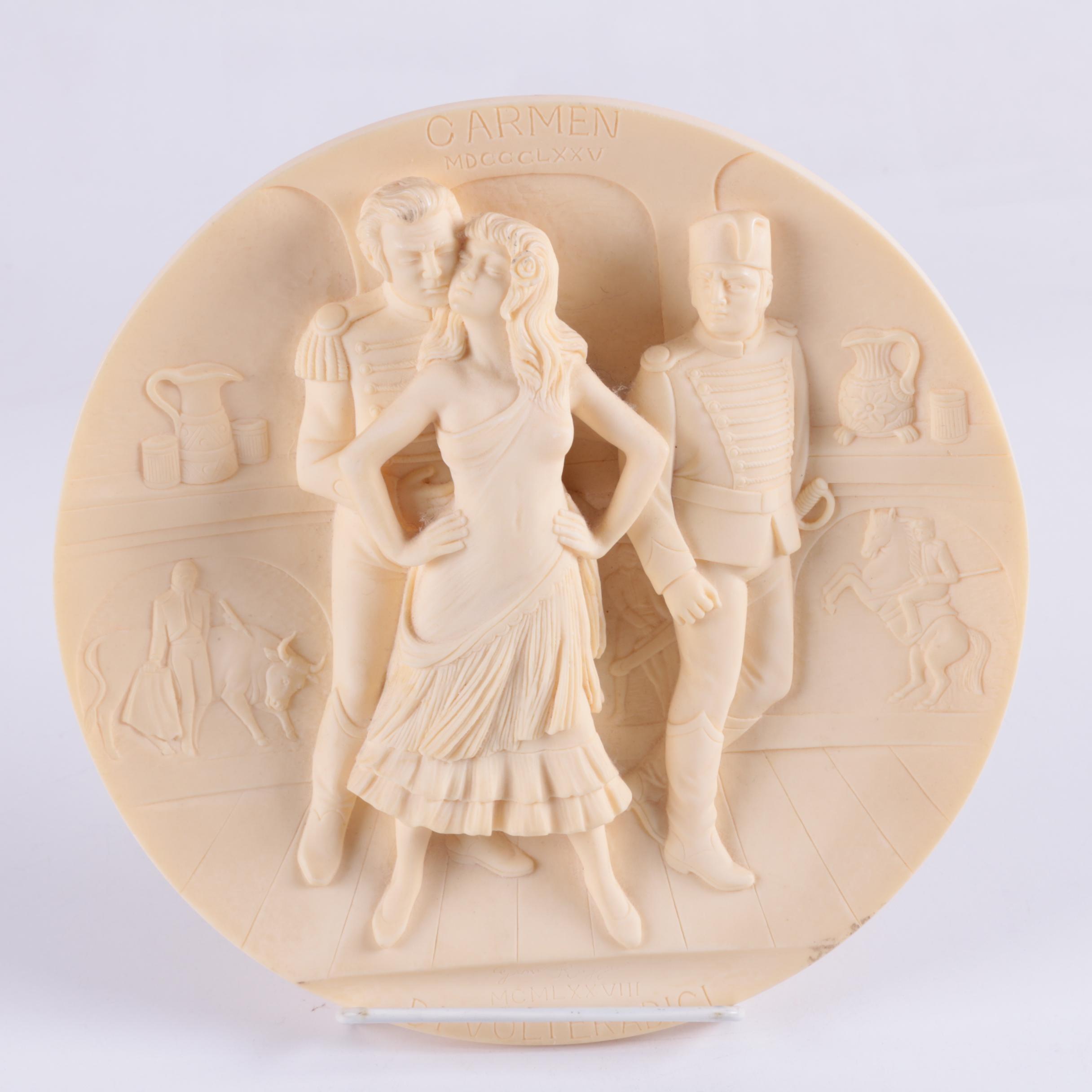 "Italian ""Carmen"" Alabaster Plate"