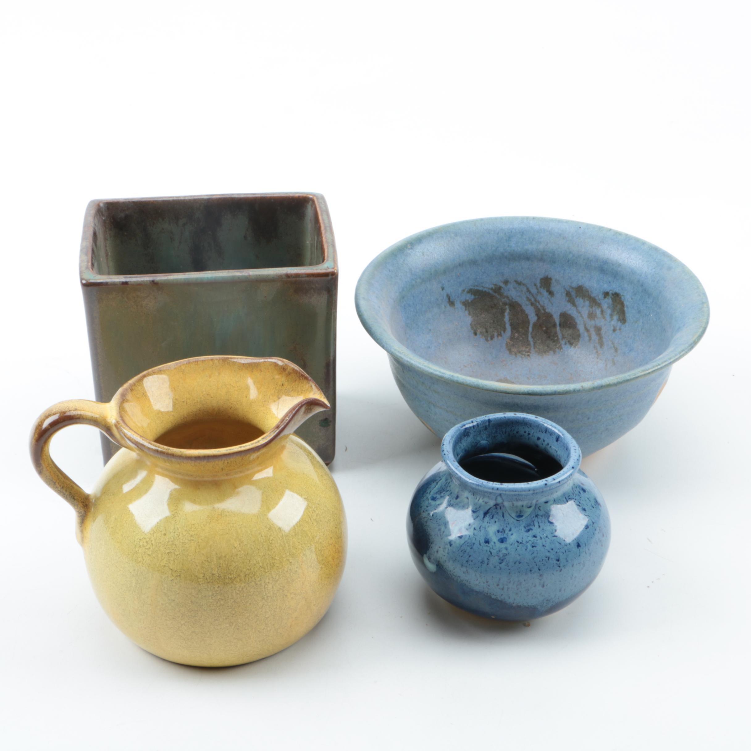 Nicodemus Yellow Glazed Pottery Pitcher and More