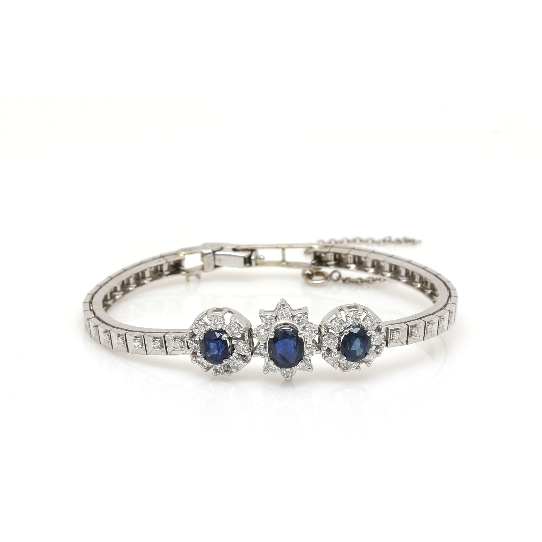 14K White Gold Sapphire and 1.24 CTW Bracelet