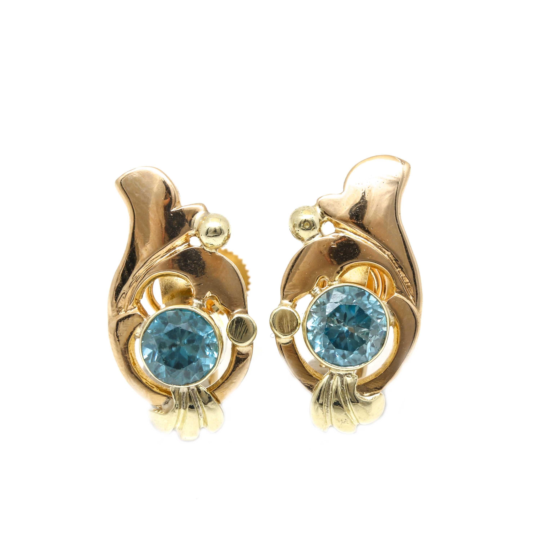 14K Yellow Gold Zircon Earrings