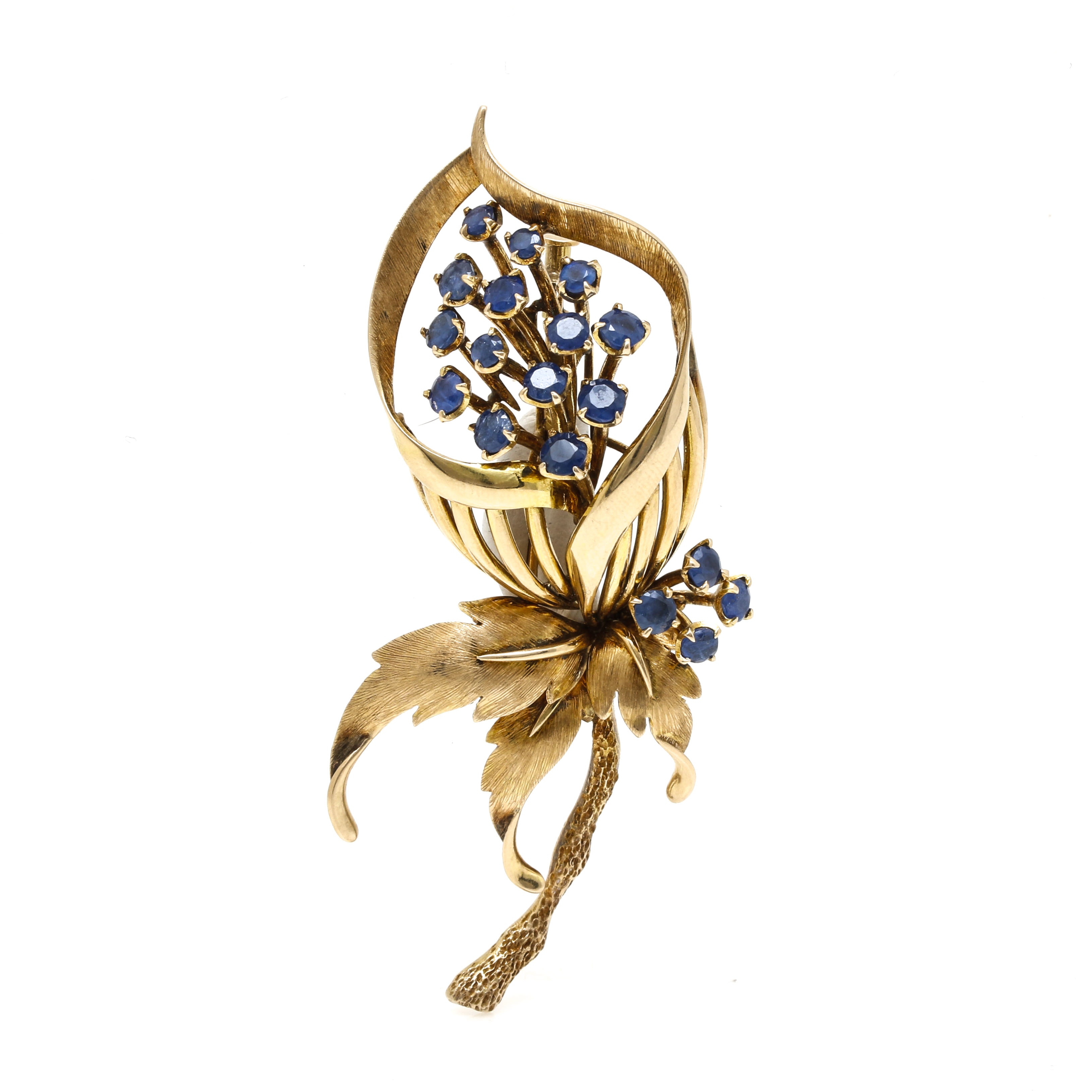14K Yellow Gold Sapphire Floral Brooch