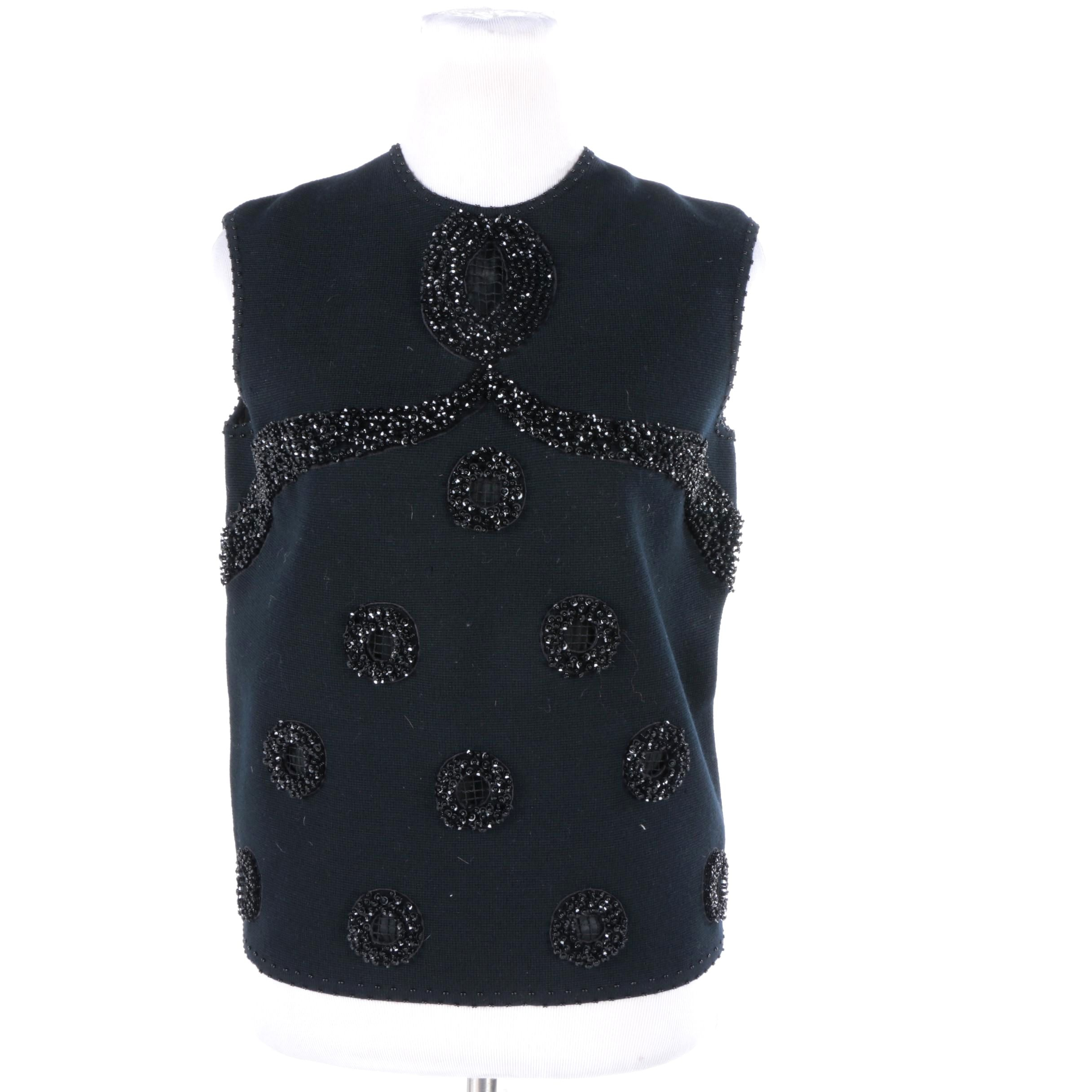 Women's Vintage Hand Beaded Black Wool Sleeveless Top