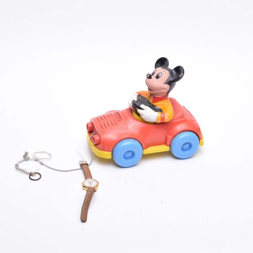 Mickey Mouse Watch and Vintage Toy Pull Car