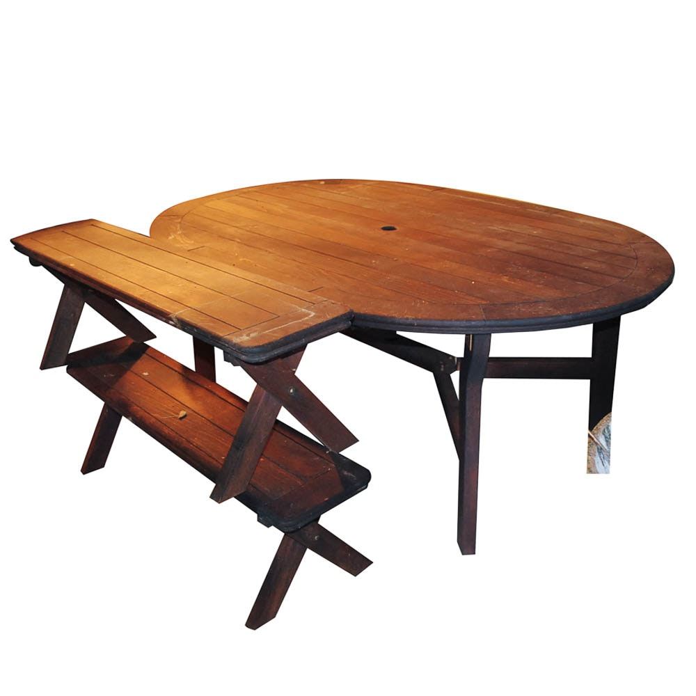 Wooden Oval Patio Table with Benches