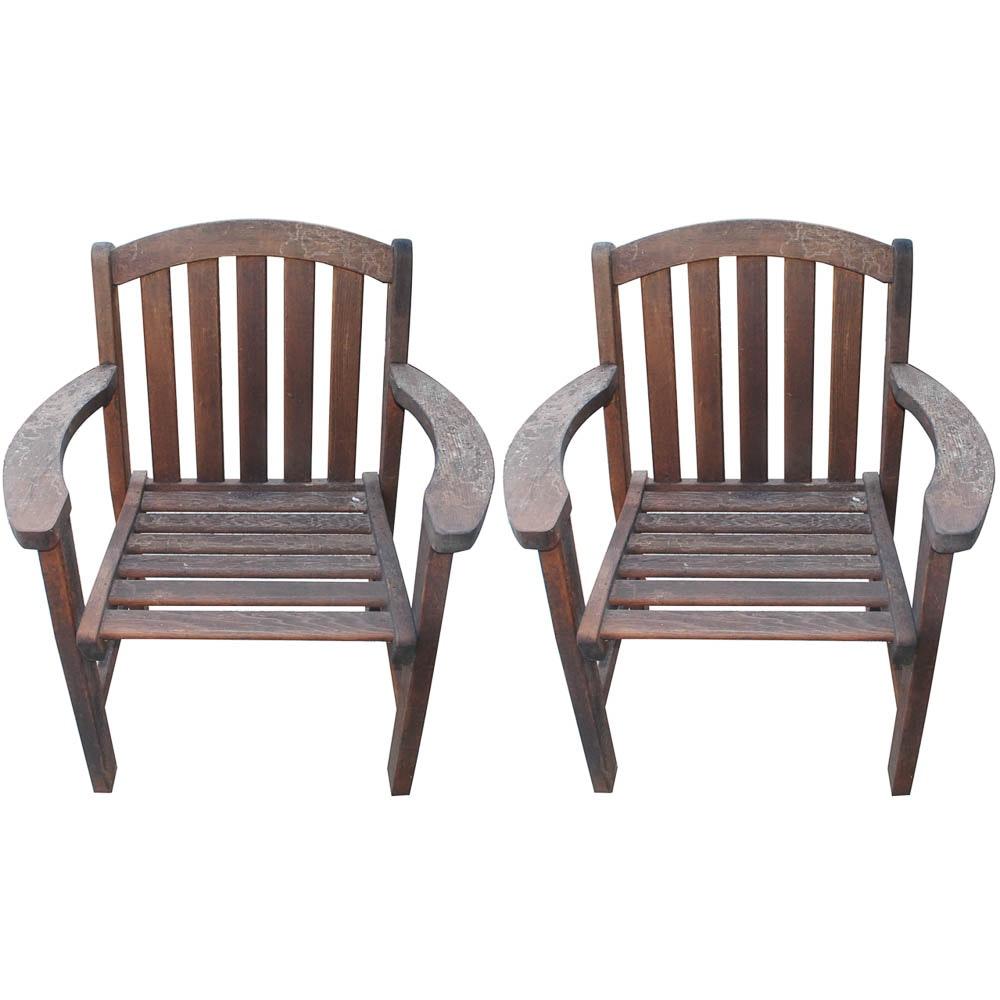 Outdoor Wooden Slat Back Armchairs