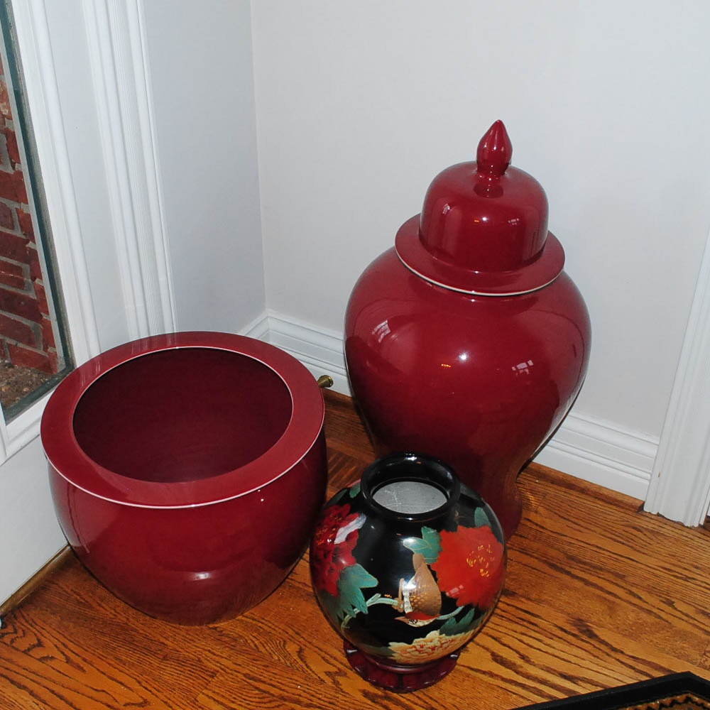 Colorful Ceramic Planters and Ginger Jar