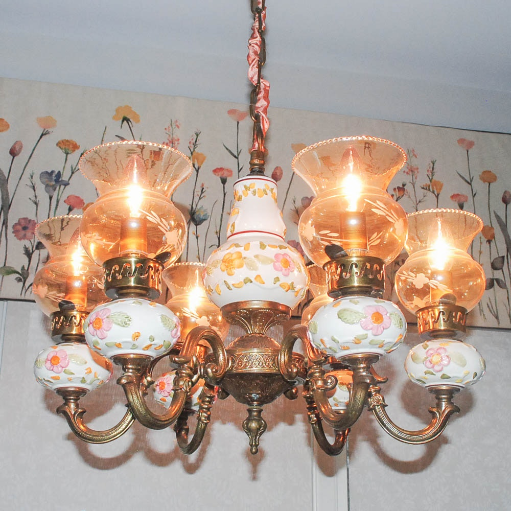 Ceramic Chandelier With Etched Glass Shades