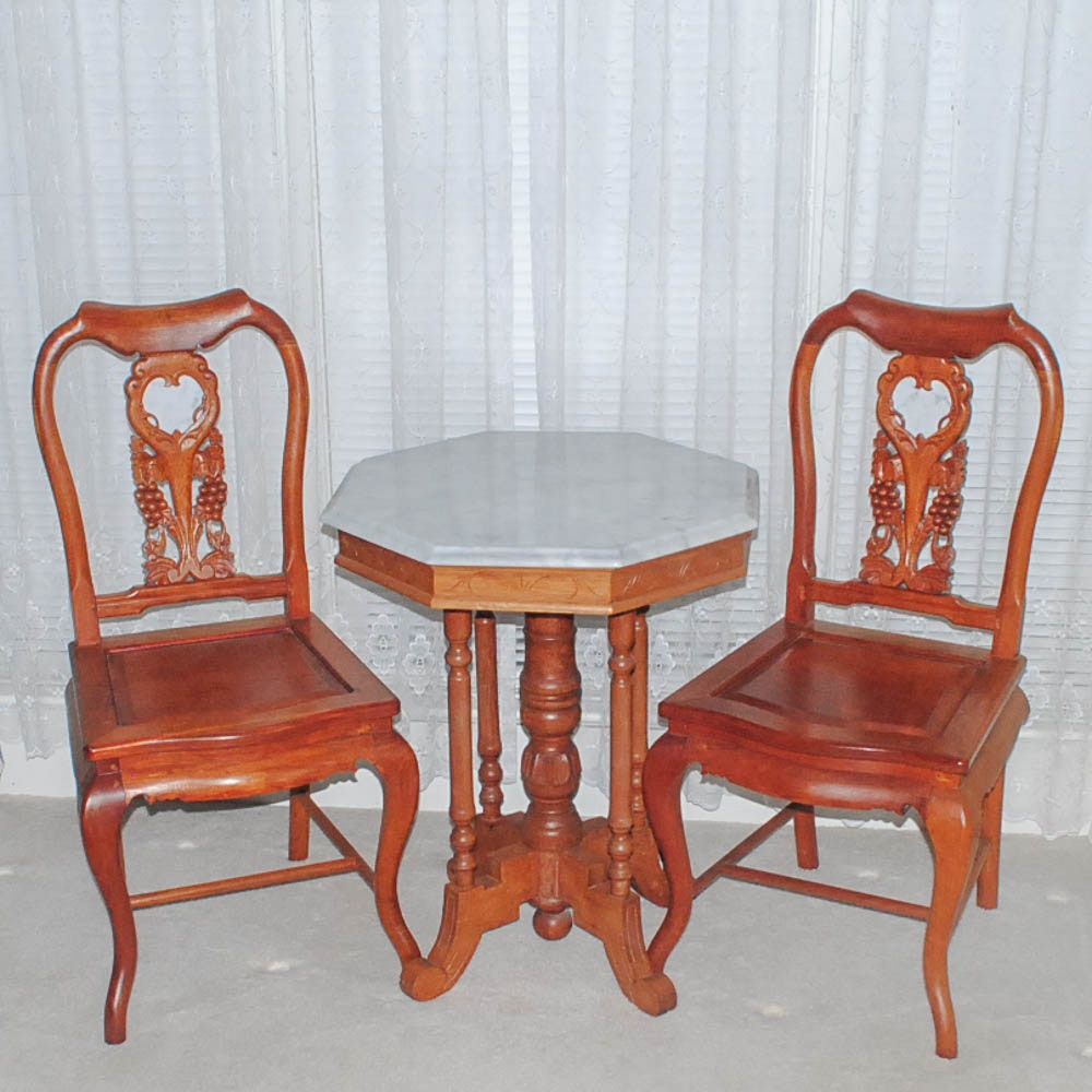 Pair of Asian Inspired Carved Chairs and Victorian Table