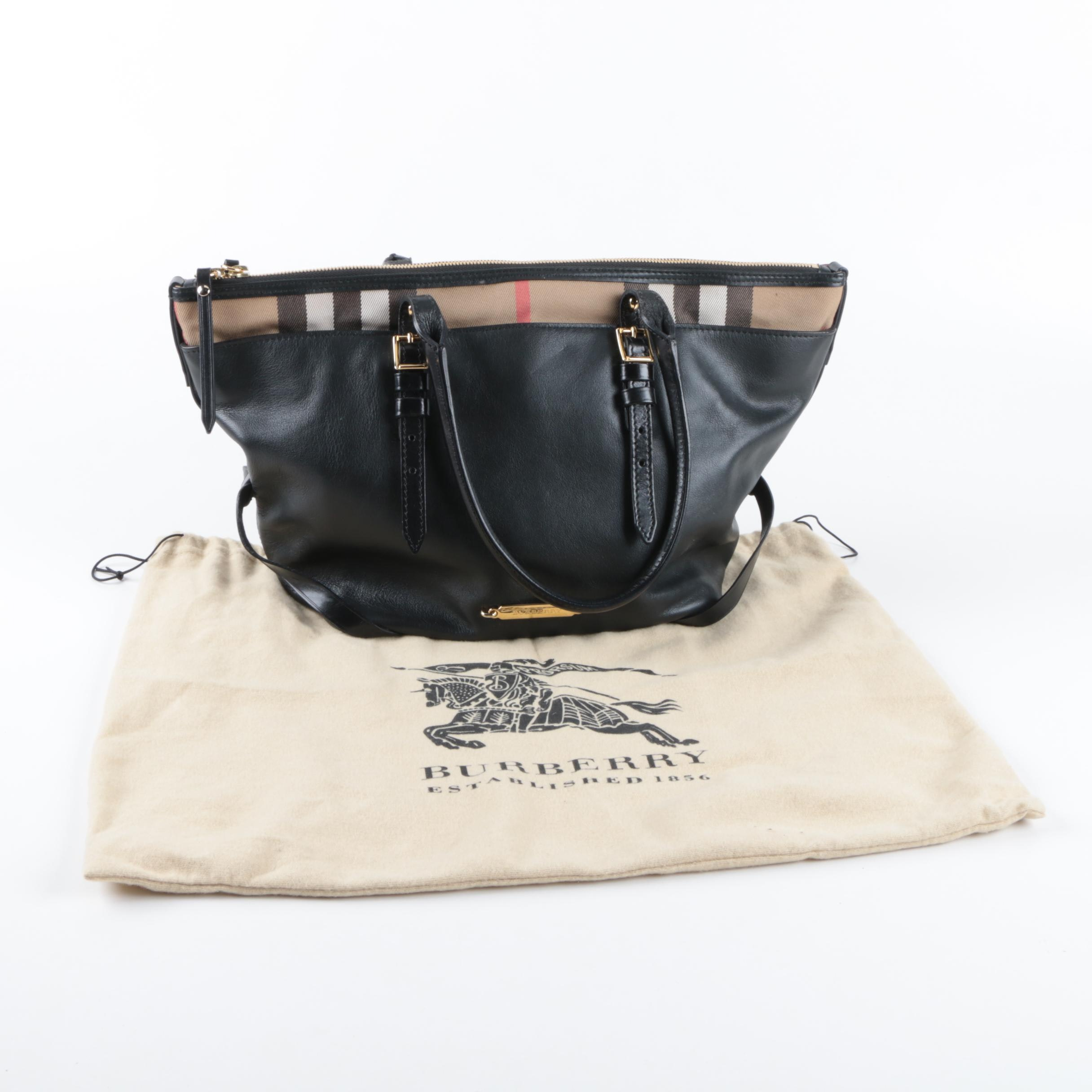 Burberry Bridle House Check Salisbury Black Leather Tote