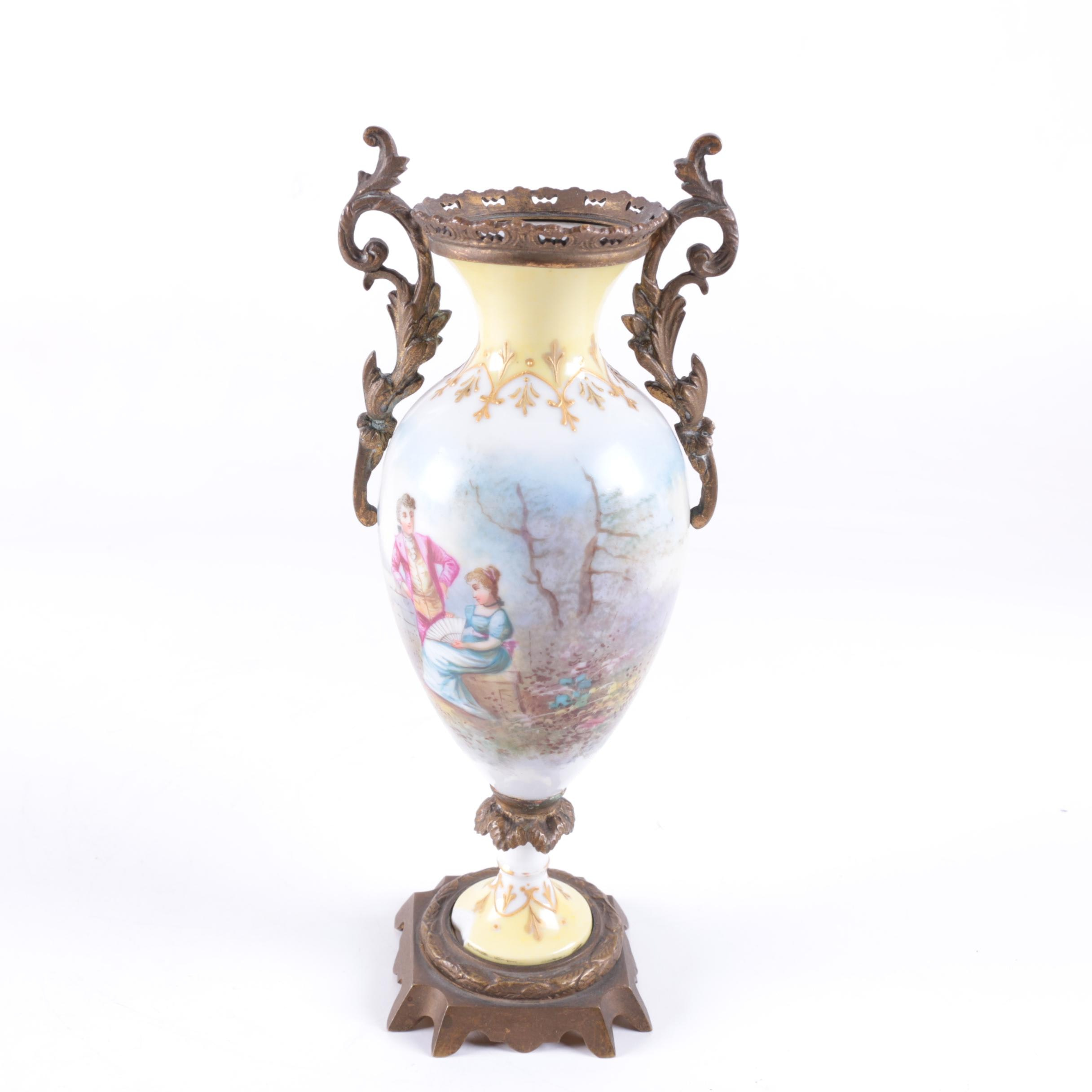 Antique Hand-Painted Sevres Style Porcelain Vase with Ormolu