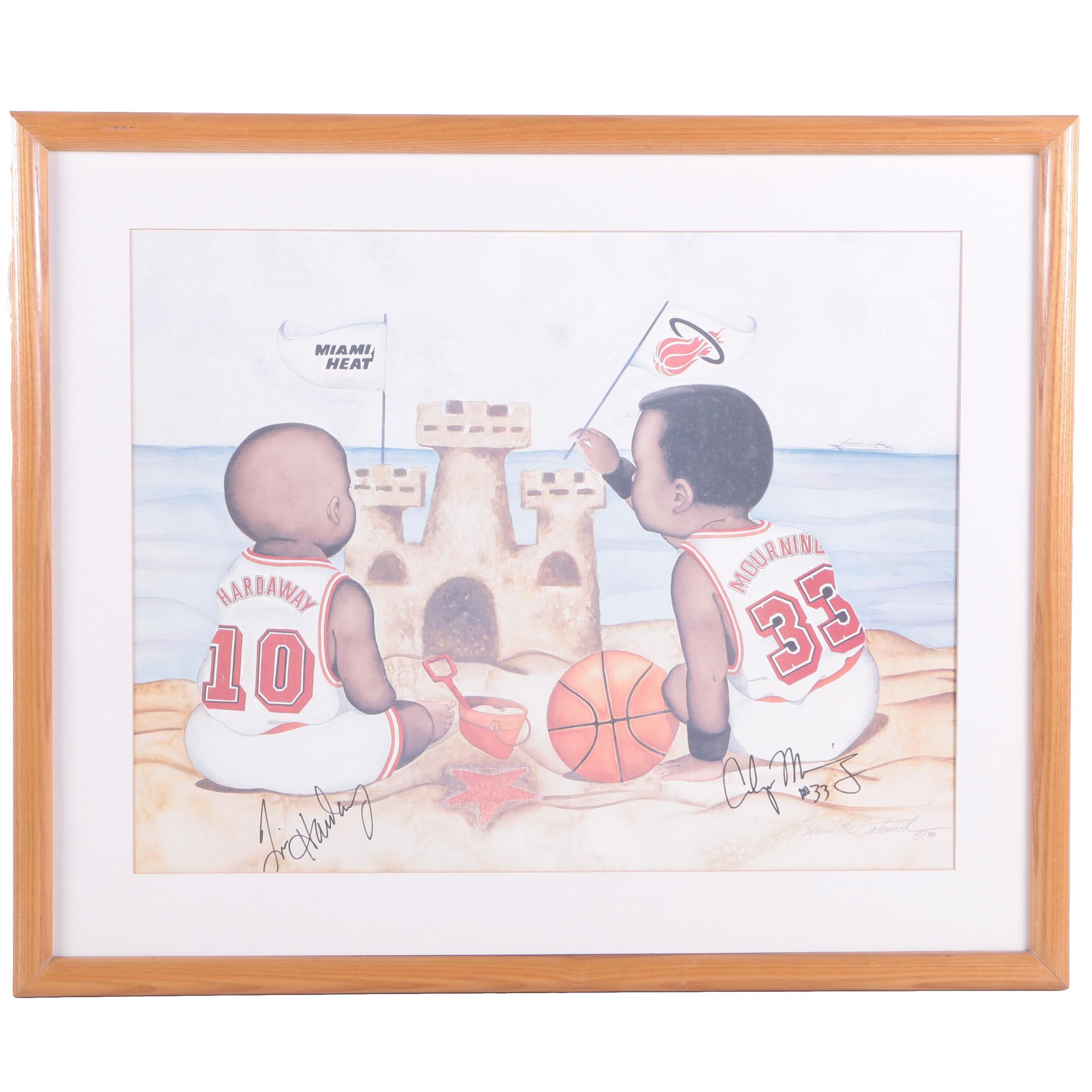 Offset Lithograph Signed by Two Basketball Players after Kenneth Gatewood