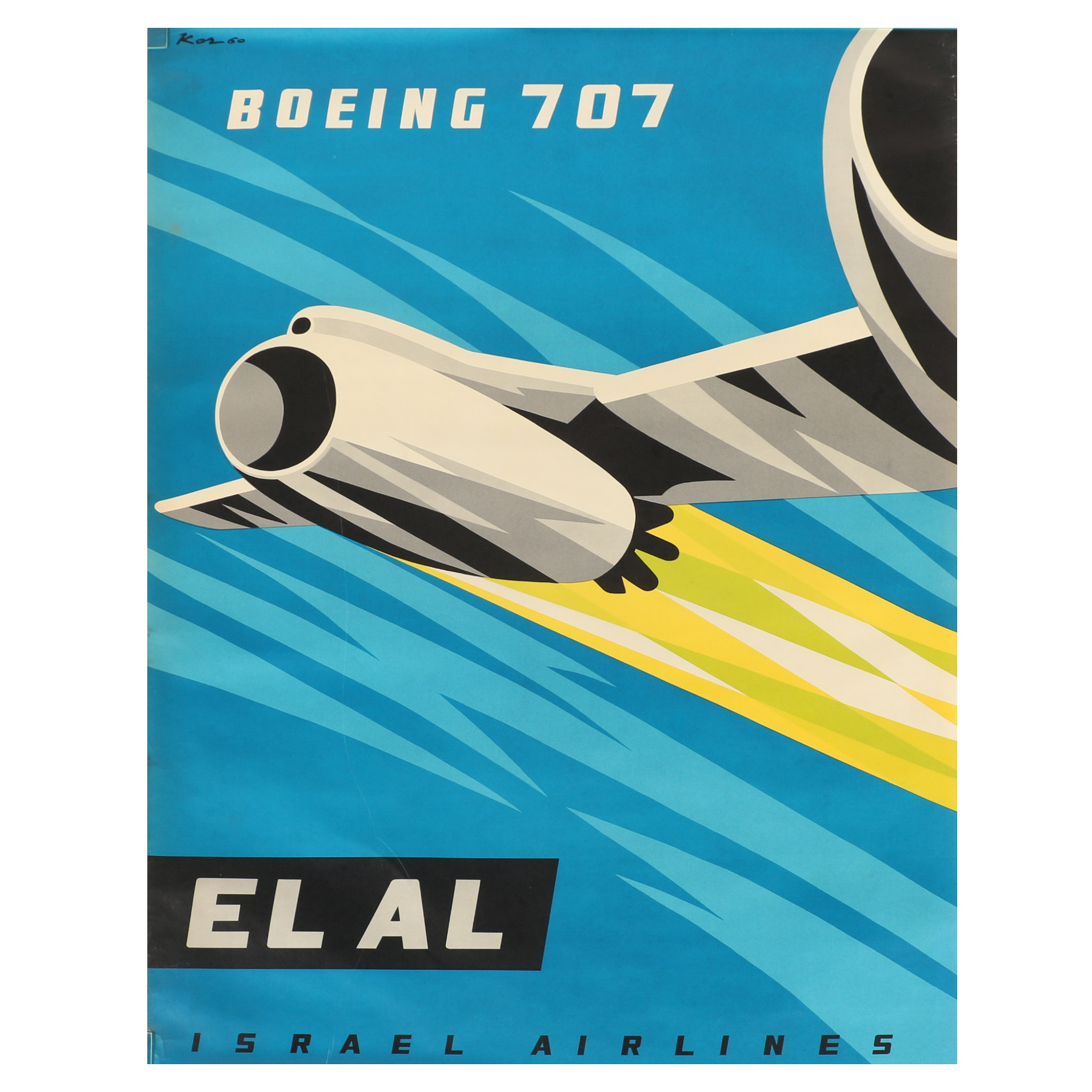 Israel Airlines Offset Lithograph Poster After Paul Kor