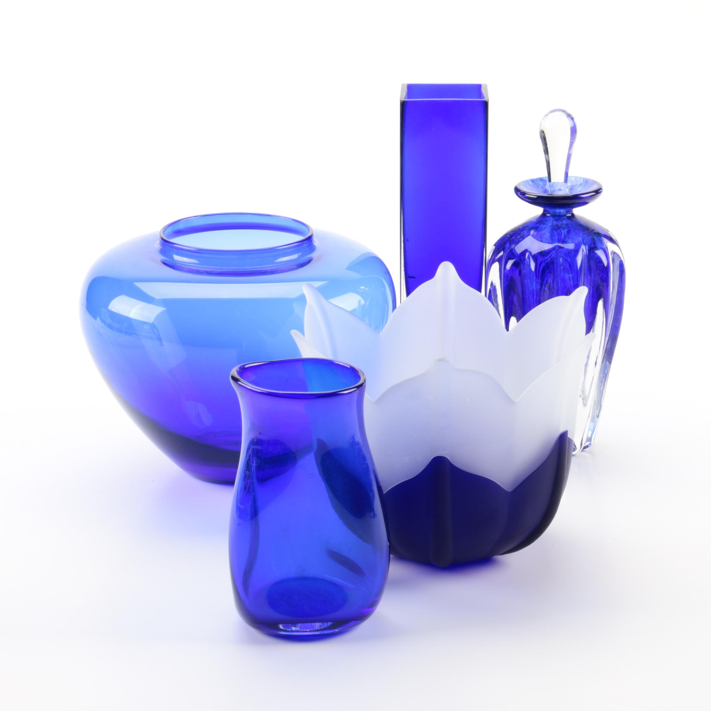 James Carcass Hand Blown Glass Vase with Perfume Bottle