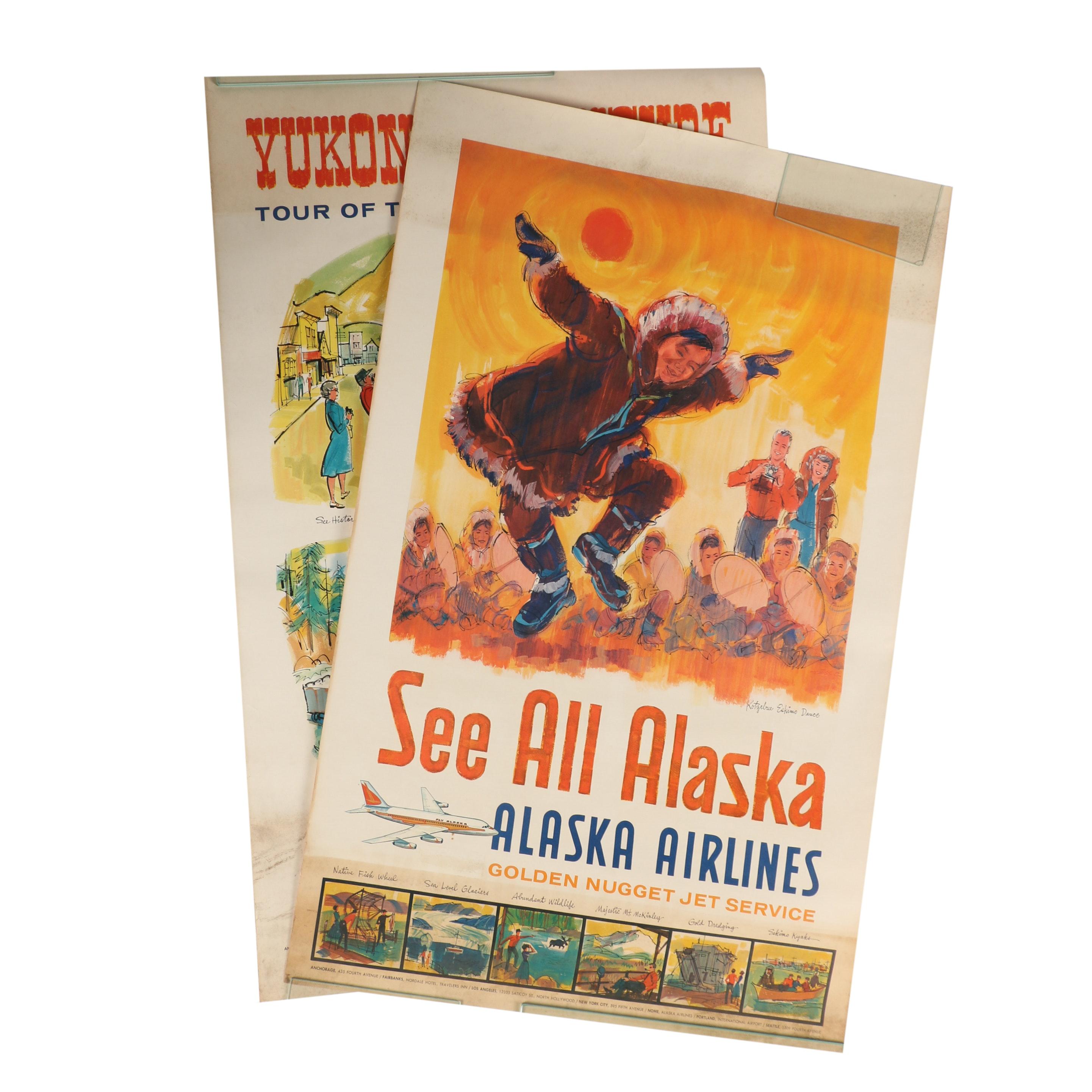 Vintage Offset Lithographs of Alaska Airlines Promotional Travel Posters