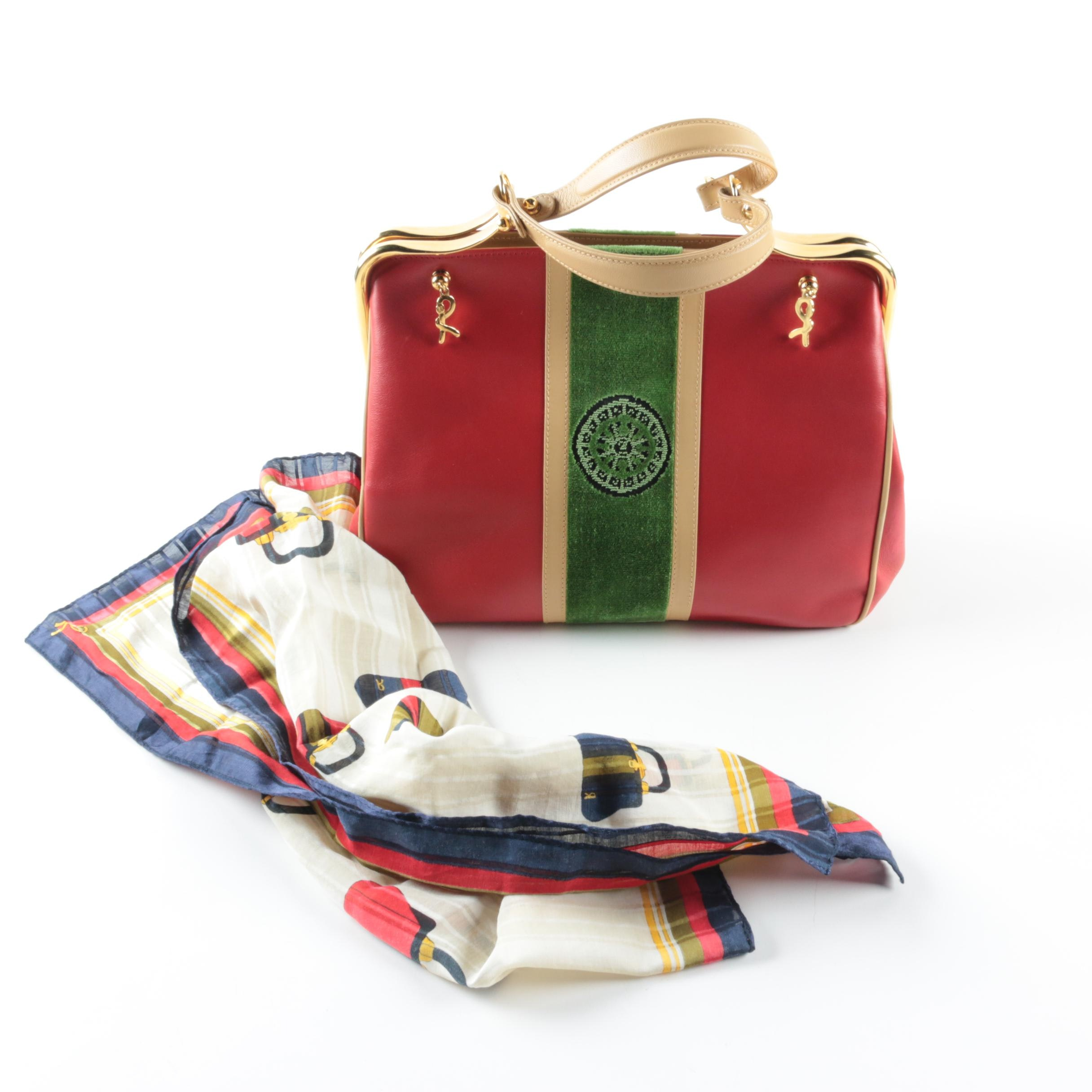 Vintage Roberta di Camerino Leather Frame Bag and Silk Scarf
