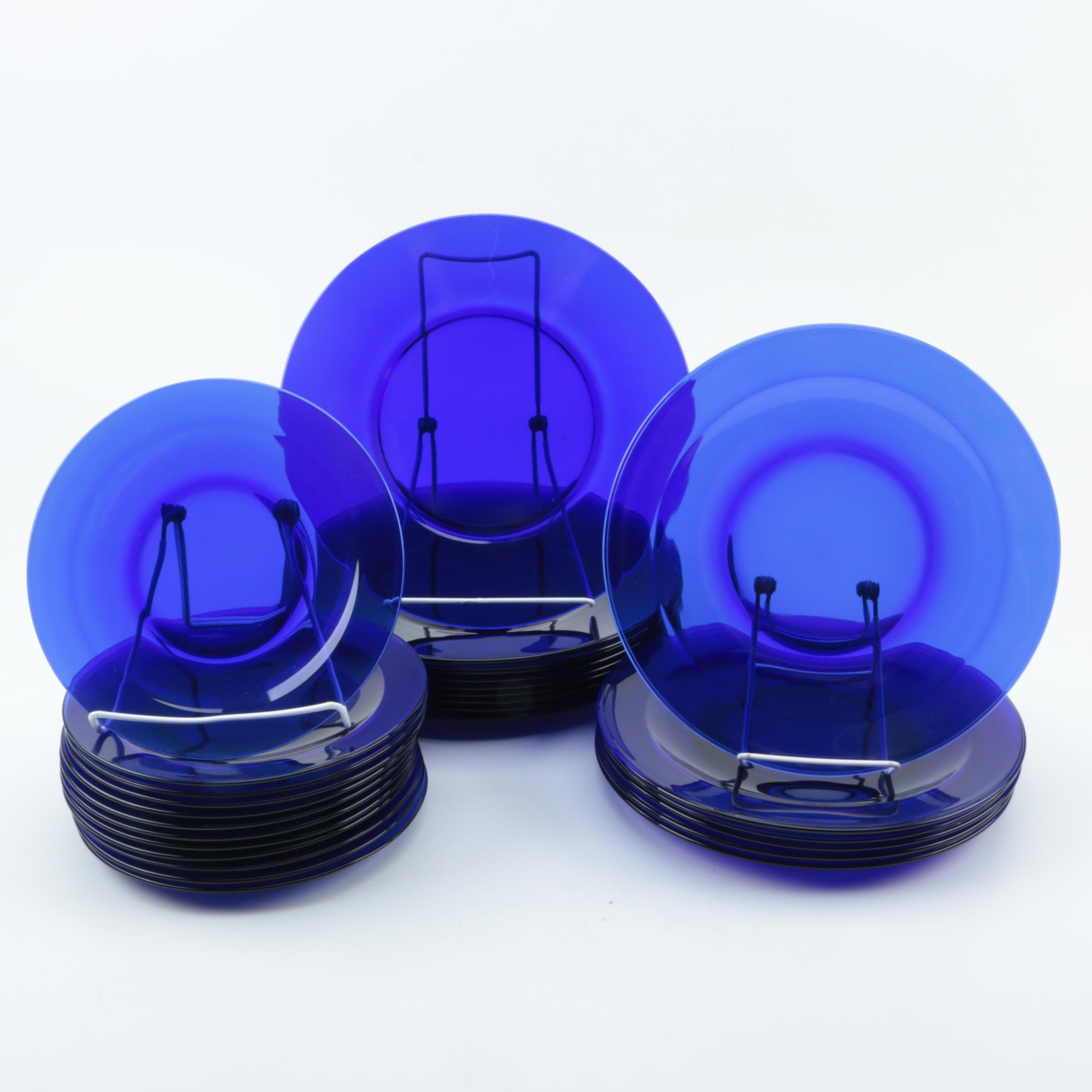 Collection of Cobalt Blue Glass Plates