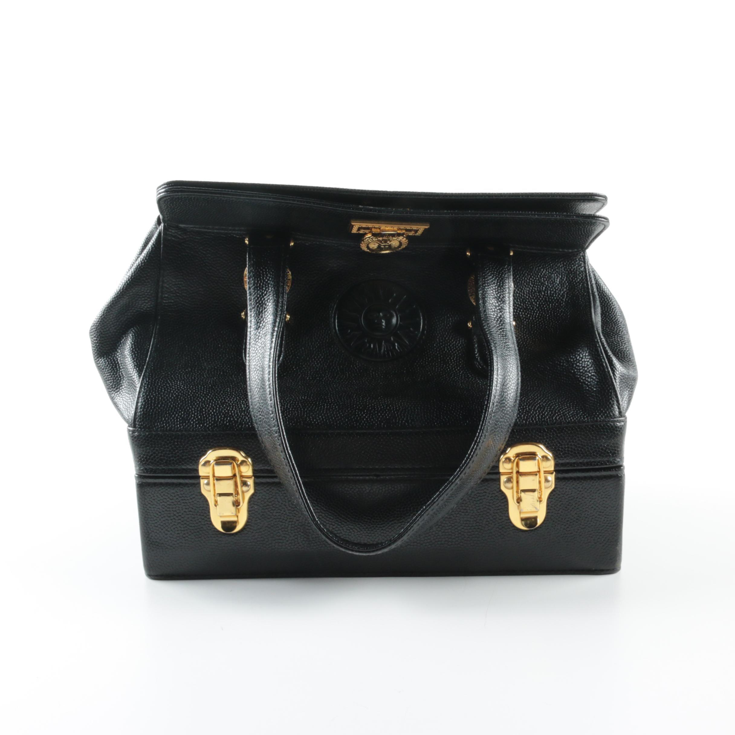 Vintage Gianni Versace Black Leather Sunburst Satchel