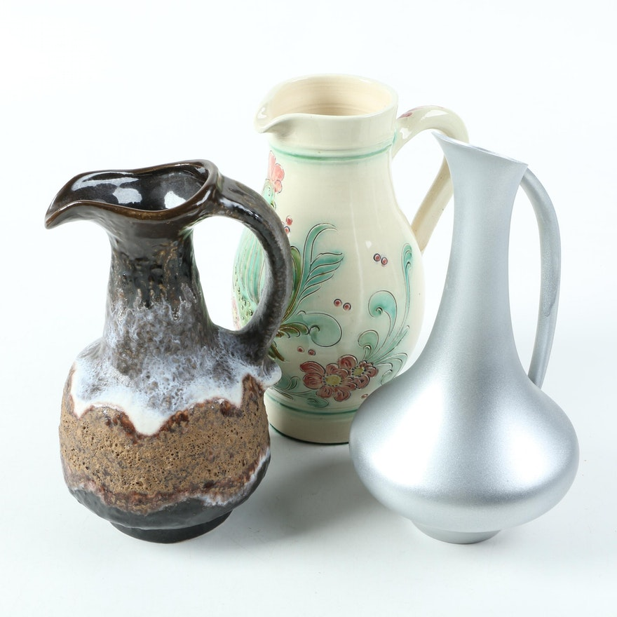 Decorative Ceramic Pitchers And Pewter Pitcher EBTH Stunning Decorative Ceramic Pitchers