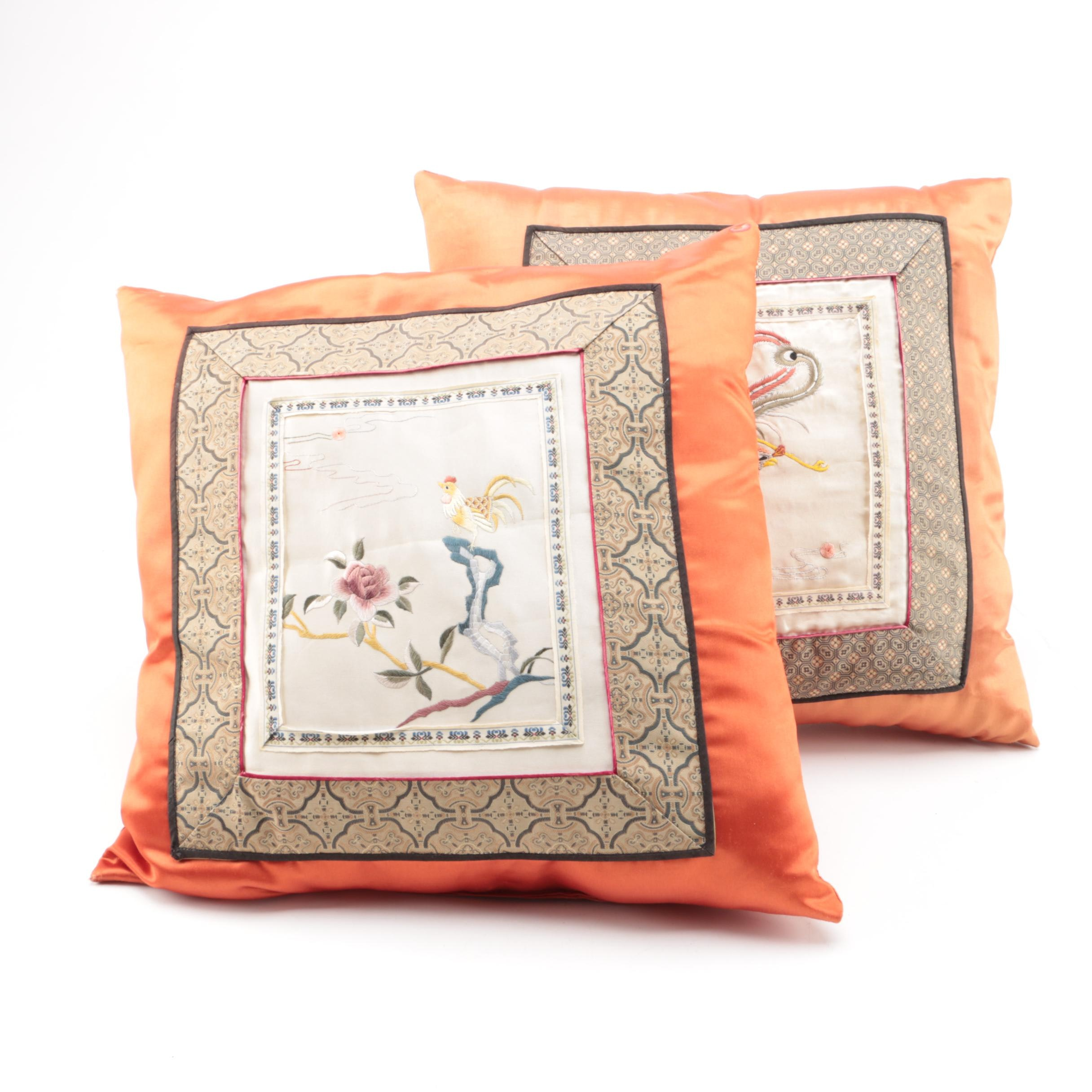 Silk Chinese Embroidered Accent Pillows