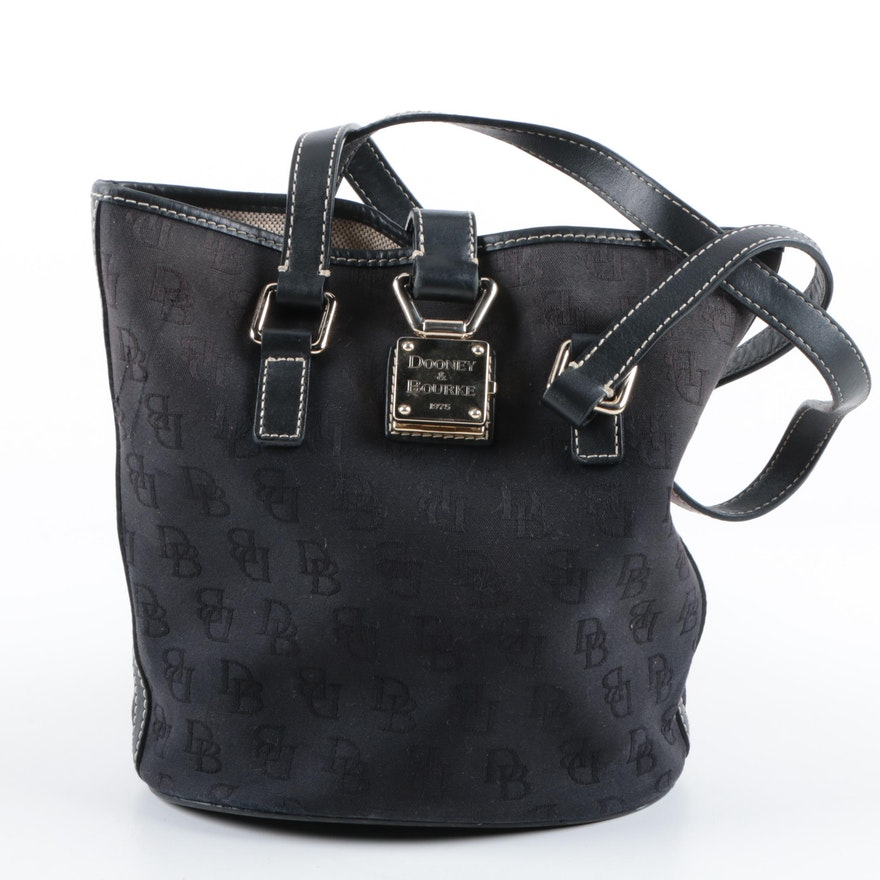 a5bb10c44729 Dooney   Bourke Signature Black Canvas Bucket Bag   EBTH