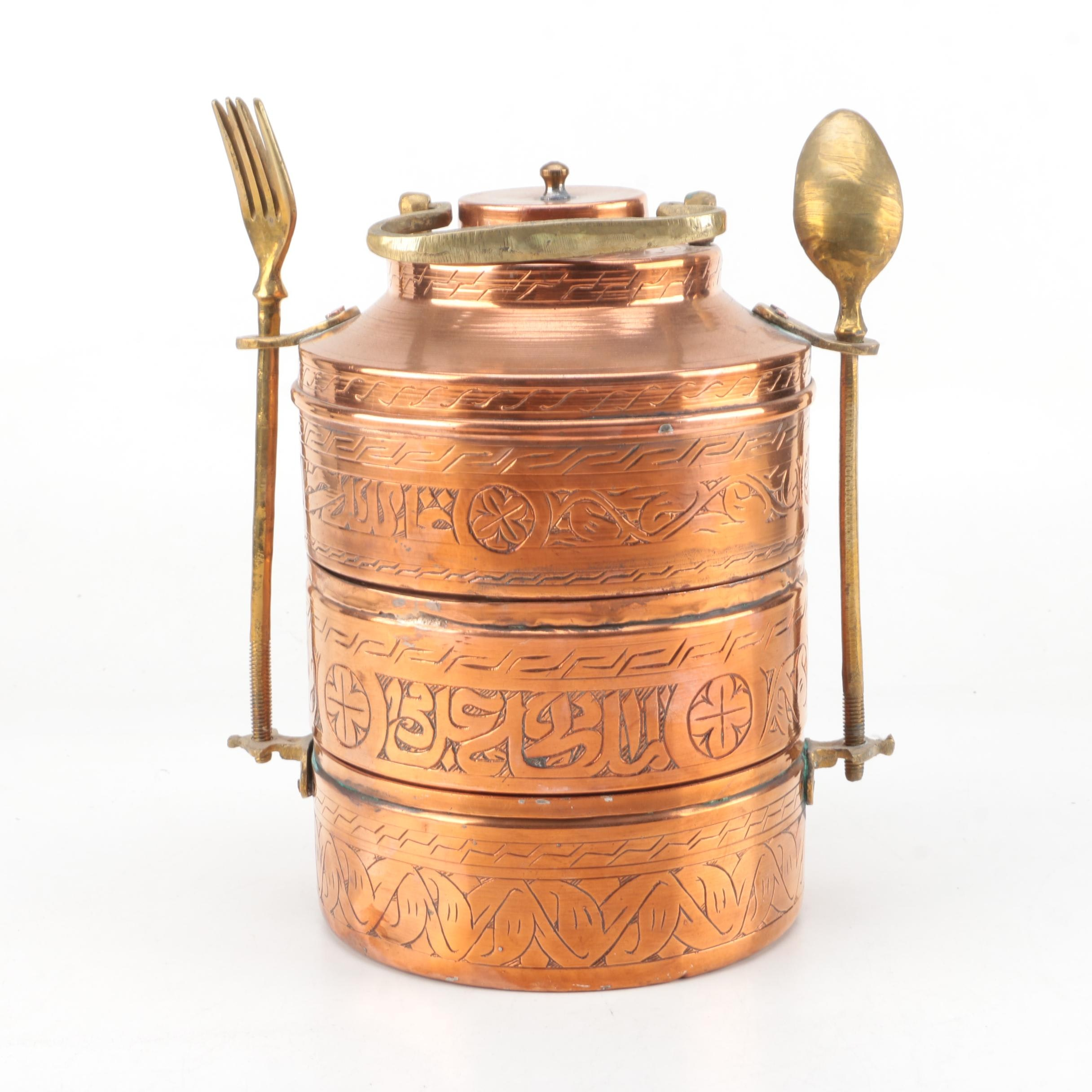 Southeast Asian Tiffin Lunch Box With Utensils